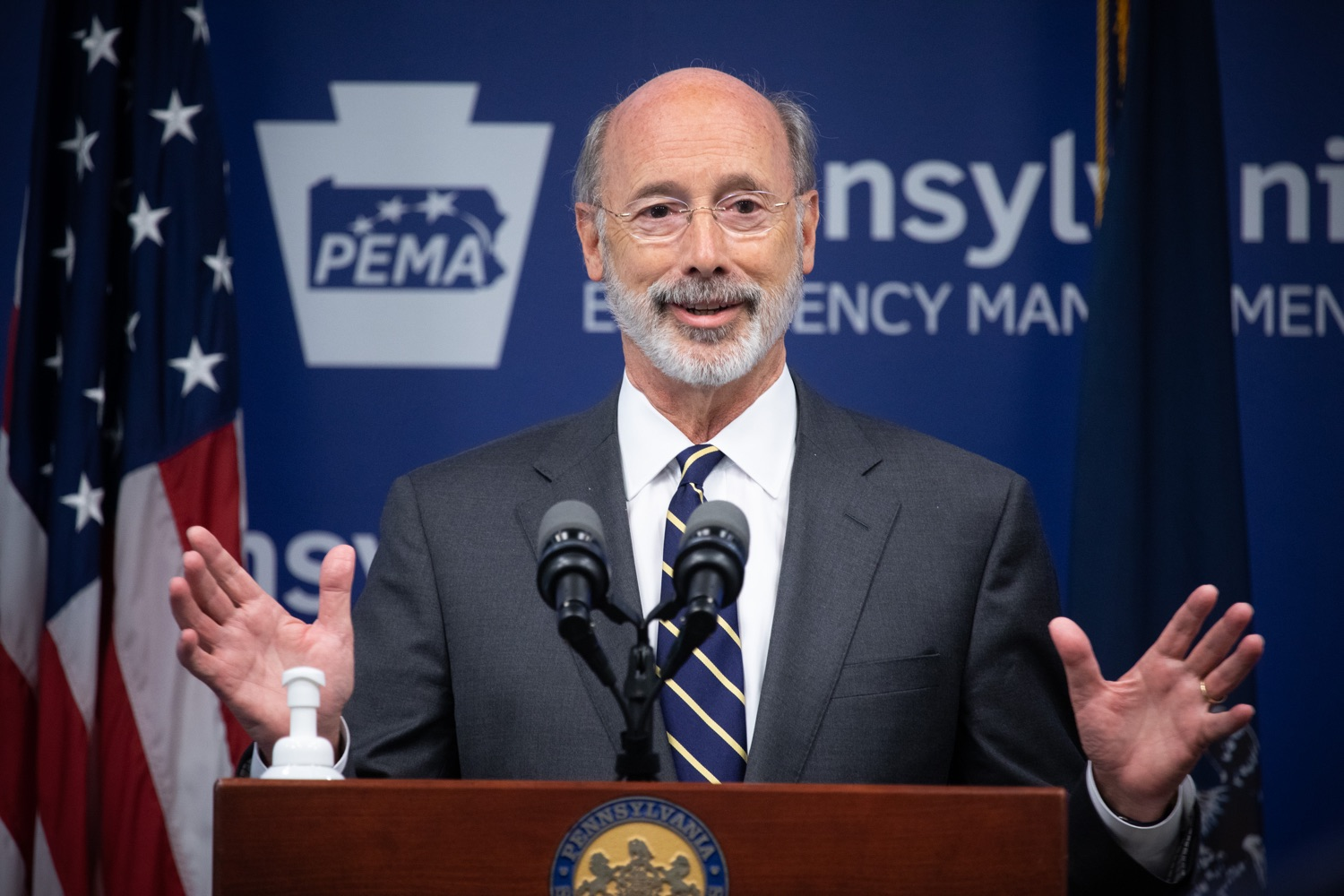 """<a href=""""https://filesource.wostreaming.net/commonwealthofpa/photo/18165_GOV_covid_mitigation_dz_16.jpg"""" target=""""_blank"""">⇣Download Photo<br></a>Pennsylvania Governor Tom Wolf speaking with the press. Governor Tom Wolf and Sec. of Health Dr. Rachel Levine today signed new orders for targeted mitigation efforts in response to the recent rise in COVID cases, primarily in southwest Pennsylvania, but also in other counties in the state, influencing the decision for statewide mitigation efforts for bars and restaurants, gatherings and telework. The new orders take effect at 12:01 a.m., Thursday, July 16, 2020.  Harrisburg, - July 15, 2020"""