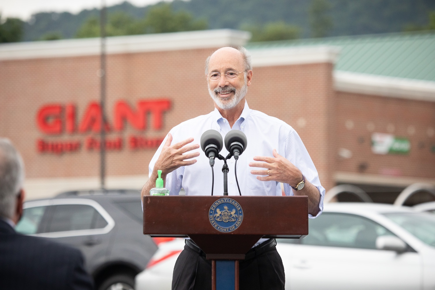"""<a href=""""https://filesource.wostreaming.net/commonwealthofpa/photo/18166_gov_cares_act_dz_03.jpg"""" target=""""_blank"""">⇣Download Photo<br></a>Pennsylvania Governor Tom Wolf speaking to reporters at the announcement. Today, Governor Tom Wolf announced the availability of $50 million in grant funding to help employers provide hazard pay to employees in life-sustaining occupations during the COVID-19 pandemic. Hazard pay is intended to keep front-line employees working in vital industry sectors across Pennsylvania.  Harrisburg, PA  July 16, 2020"""