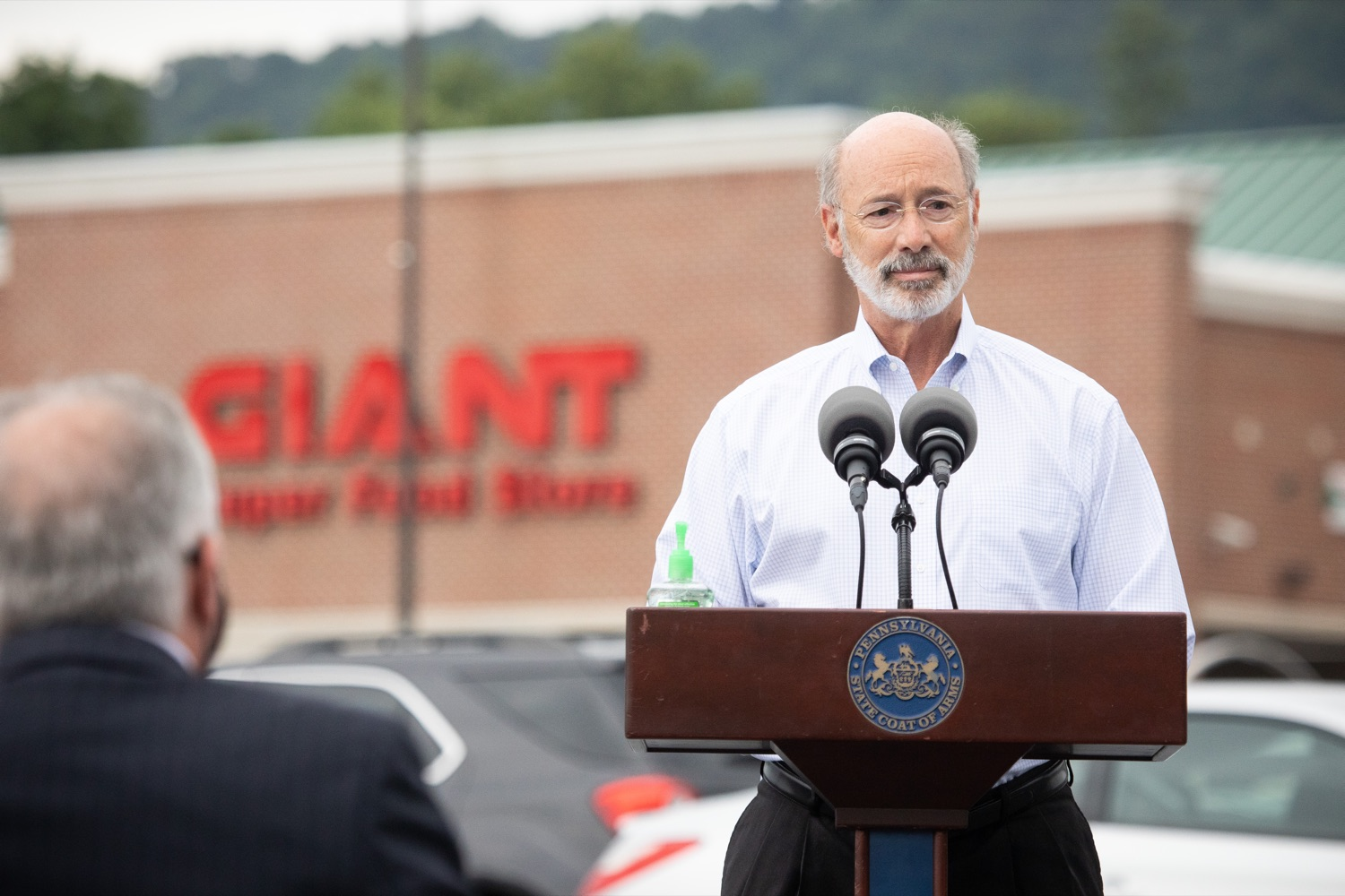 """<a href=""""https://filesource.wostreaming.net/commonwealthofpa/photo/18166_gov_cares_act_dz_05.jpg"""" target=""""_blank"""">⇣Download Photo<br></a>Pennsylvania Governor Tom Wolf speaking to reporters at the announcement. Today, Governor Tom Wolf announced the availability of $50 million in grant funding to help employers provide hazard pay to employees in life-sustaining occupations during the COVID-19 pandemic. Hazard pay is intended to keep front-line employees working in vital industry sectors across Pennsylvania.  Harrisburg, PA  July 16, 2020"""