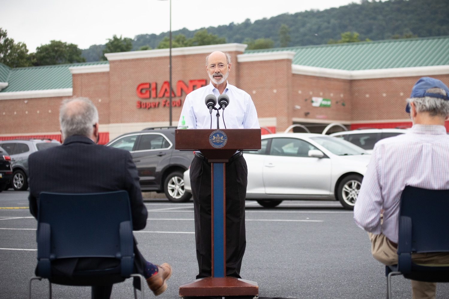 """<a href=""""https://filesource.wostreaming.net/commonwealthofpa/photo/18166_gov_cares_act_dz_07.jpg"""" target=""""_blank"""">⇣Download Photo<br></a>Pennsylvania Governor Tom Wolf speaking at the announcement.  Today, Governor Tom Wolf announced the availability of $50 million in grant funding to help employers provide hazard pay to employees in life-sustaining occupations during the COVID-19 pandemic. Hazard pay is intended to keep front-line employees working in vital industry sectors across Pennsylvania.  Harrisburg, PA  July 16, 2020"""