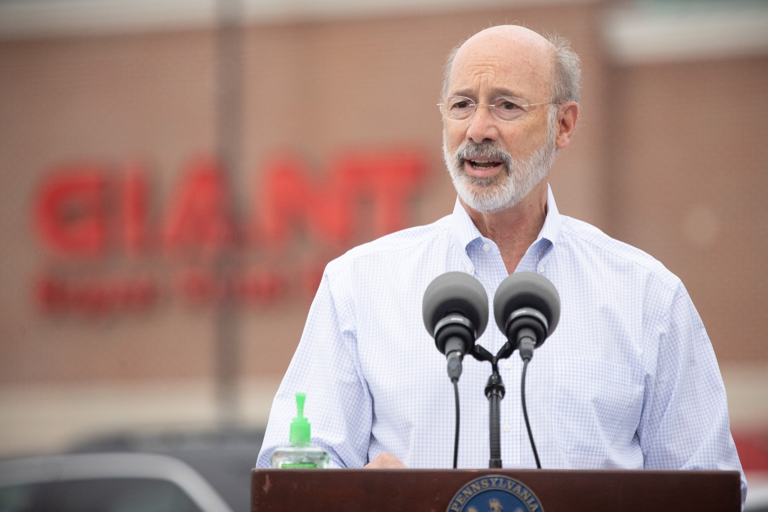 """<a href=""""https://filesource.wostreaming.net/commonwealthofpa/photo/18166_gov_cares_act_dz_08.jpg"""" target=""""_blank"""">⇣Download Photo<br></a>Pennsylvania Governor Tom Wolf speaking at the announcement.  Today, Governor Tom Wolf announced the availability of $50 million in grant funding to help employers provide hazard pay to employees in life-sustaining occupations during the COVID-19 pandemic. Hazard pay is intended to keep front-line employees working in vital industry sectors across Pennsylvania.  Harrisburg, PA  July 16, 2020"""