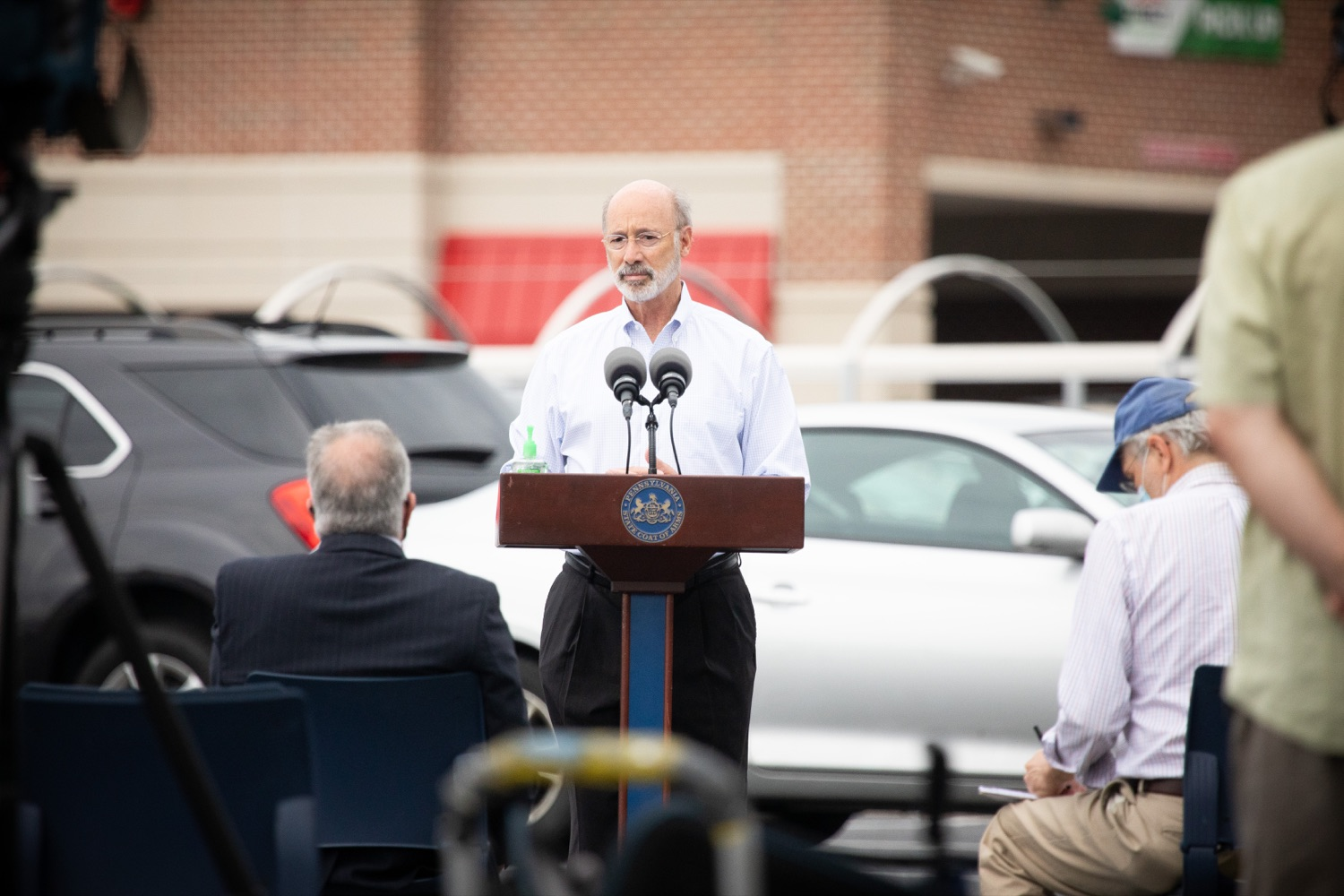 """<a href=""""https://filesource.wostreaming.net/commonwealthofpa/photo/18166_gov_cares_act_dz_09.jpg"""" target=""""_blank"""">⇣Download Photo<br></a>Pennsylvania Governor Tom Wolf speaking to reporters at the announcement. Today, Governor Tom Wolf announced the availability of $50 million in grant funding to help employers provide hazard pay to employees in life-sustaining occupations during the COVID-19 pandemic. Hazard pay is intended to keep front-line employees working in vital industry sectors across Pennsylvania.  Harrisburg, PA  July 16, 2020"""