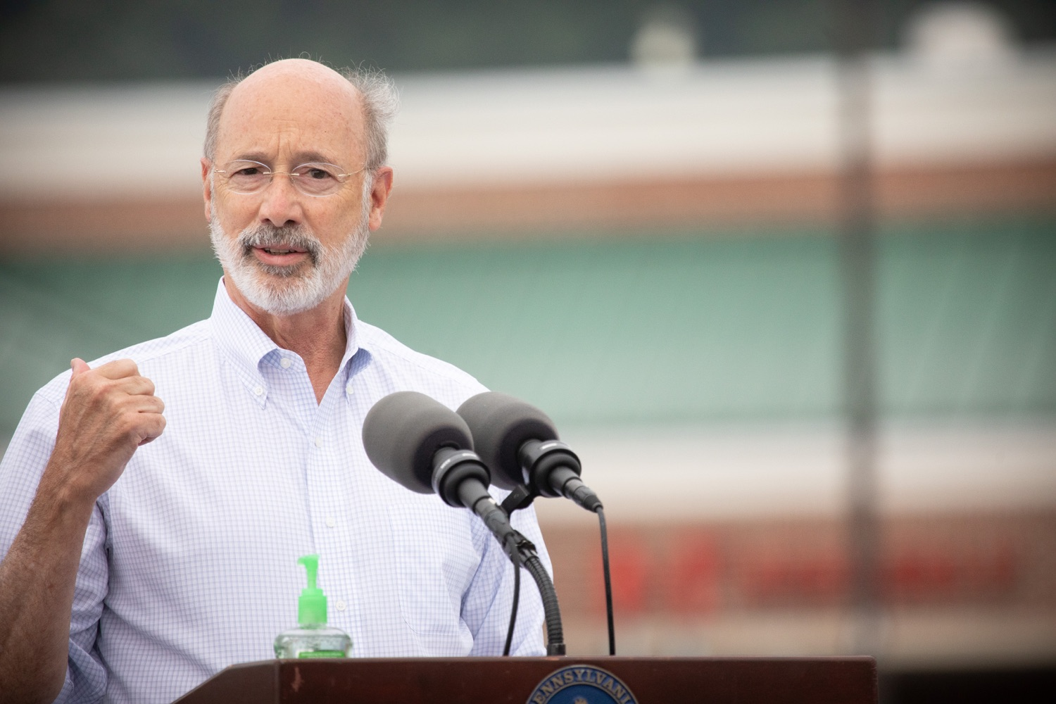 """<a href=""""https://filesource.wostreaming.net/commonwealthofpa/photo/18166_gov_cares_act_dz_10.jpg"""" target=""""_blank"""">⇣Download Photo<br></a>Pennsylvania Governor Tom Wolf speaking at the announcement.  Today, Governor Tom Wolf announced the availability of $50 million in grant funding to help employers provide hazard pay to employees in life-sustaining occupations during the COVID-19 pandemic. Hazard pay is intended to keep front-line employees working in vital industry sectors across Pennsylvania.  Harrisburg, PA  July 16, 2020"""