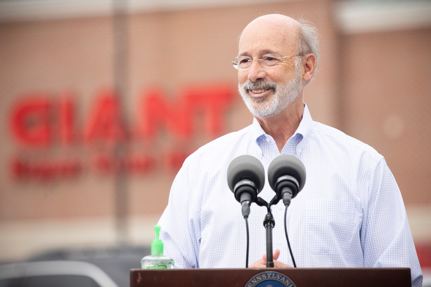 """<a href=""""https://filesource.wostreaming.net/commonwealthofpa/photo/18166_gov_cares_act_dz_13.jpg"""" target=""""_blank"""">⇣Download Photo<br></a>Pennsylvania Governor Tom Wolf speaking to reporters at the announcement. Today, Governor Tom Wolf announced the availability of $50 million in grant funding to help employers provide hazard pay to employees in life-sustaining occupations during the COVID-19 pandemic. Hazard pay is intended to keep front-line employees working in vital industry sectors across Pennsylvania.  Harrisburg, PA  July 16, 2020"""