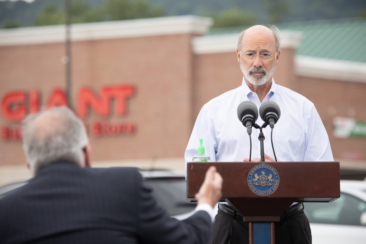 """<a href=""""https://filesource.wostreaming.net/commonwealthofpa/photo/18166_gov_cares_act_dz_15.jpg"""" target=""""_blank"""">⇣Download Photo<br></a>Pennsylvania Governor Tom Wolf speaking to reporters at the announcement. Today, Governor Tom Wolf announced the availability of $50 million in grant funding to help employers provide hazard pay to employees in life-sustaining occupations during the COVID-19 pandemic. Hazard pay is intended to keep front-line employees working in vital industry sectors across Pennsylvania.  Harrisburg, PA  July 16, 2020"""