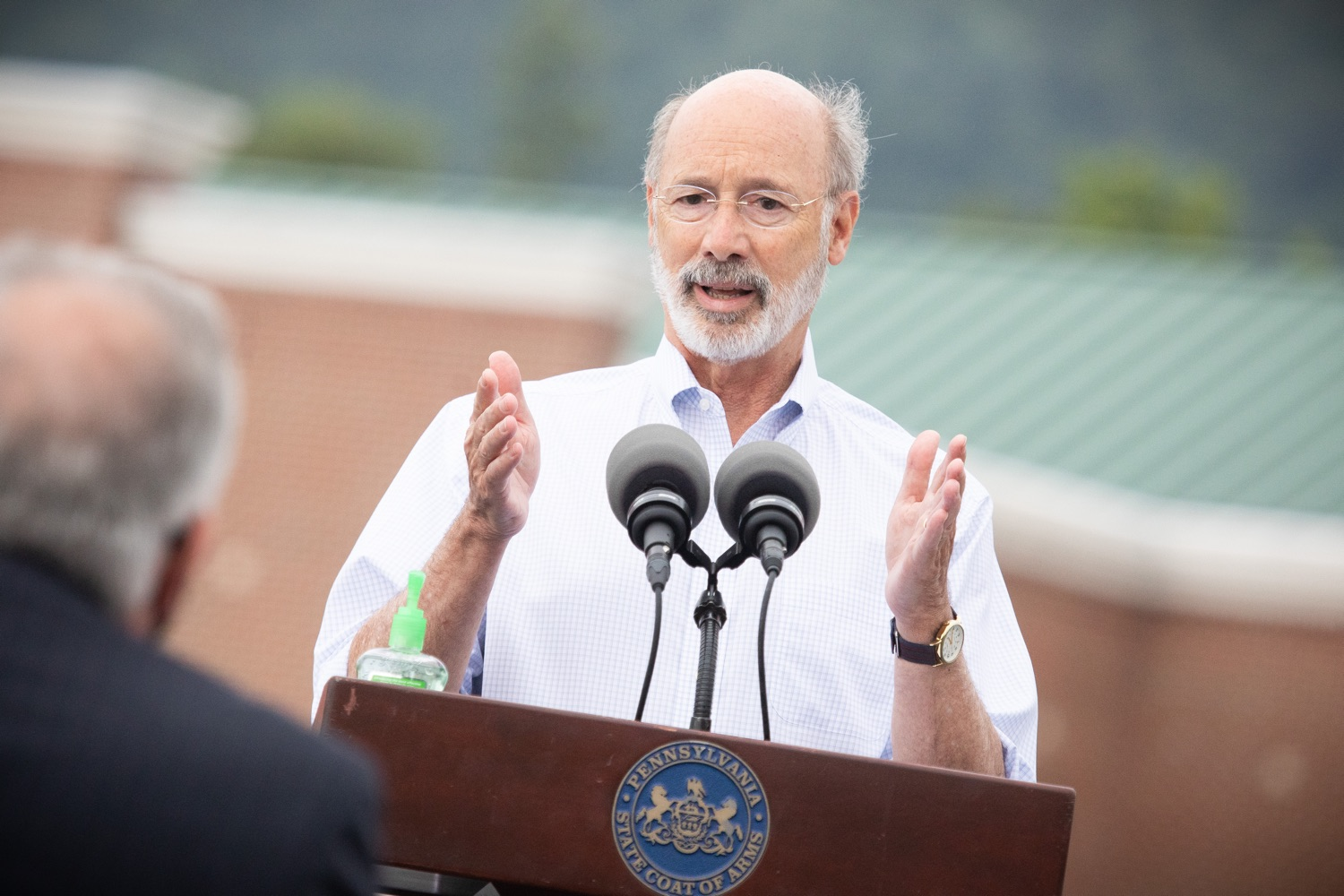 """<a href=""""https://filesource.wostreaming.net/commonwealthofpa/photo/18166_gov_cares_act_dz_16.jpg"""" target=""""_blank"""">⇣Download Photo<br></a>Pennsylvania Governor Tom Wolf speaking to reporters at the announcement. Today, Governor Tom Wolf announced the availability of $50 million in grant funding to help employers provide hazard pay to employees in life-sustaining occupations during the COVID-19 pandemic. Hazard pay is intended to keep front-line employees working in vital industry sectors across Pennsylvania.  Harrisburg, PA  July 16, 2020"""