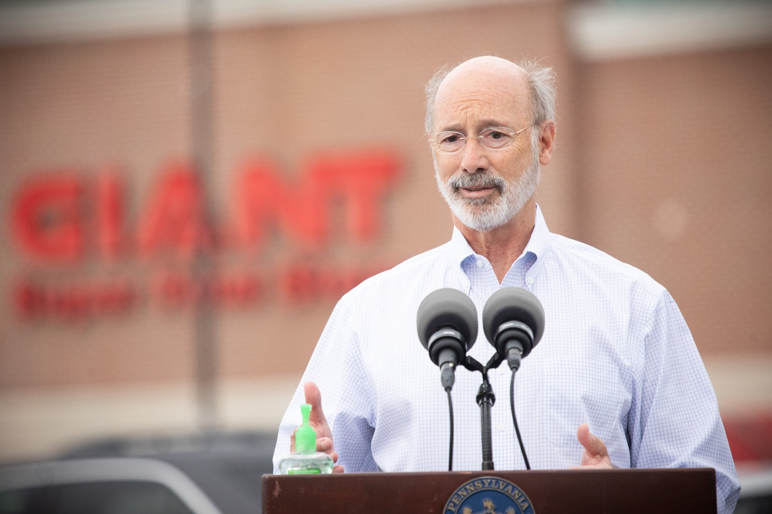 """<a href=""""https://filesource.wostreaming.net/commonwealthofpa/photo/18166_gov_cares_act_dz_17.jpg"""" target=""""_blank"""">⇣Download Photo<br></a>Pennsylvania Governor Tom Wolf speaking to reporters at the announcement. Today, Governor Tom Wolf announced the availability of $50 million in grant funding to help employers provide hazard pay to employees in life-sustaining occupations during the COVID-19 pandemic. Hazard pay is intended to keep front-line employees working in vital industry sectors across Pennsylvania.  Harrisburg, PA  July 16, 2020"""