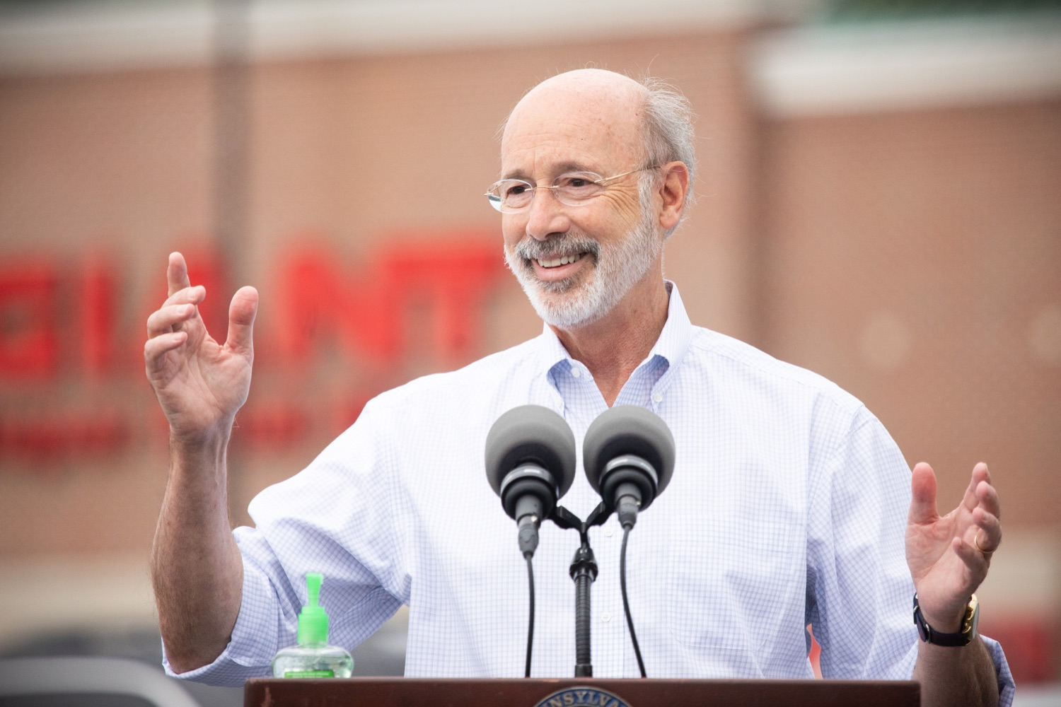 """<a href=""""https://filesource.wostreaming.net/commonwealthofpa/photo/18166_gov_cares_act_dz_19.jpg"""" target=""""_blank"""">⇣Download Photo<br></a>Pennsylvania Governor Tom Wolf speaking to reporters at the announcement. Today, Governor Tom Wolf announced the availability of $50 million in grant funding to help employers provide hazard pay to employees in life-sustaining occupations during the COVID-19 pandemic. Hazard pay is intended to keep front-line employees working in vital industry sectors across Pennsylvania.  Harrisburg, PA  July 16, 2020"""