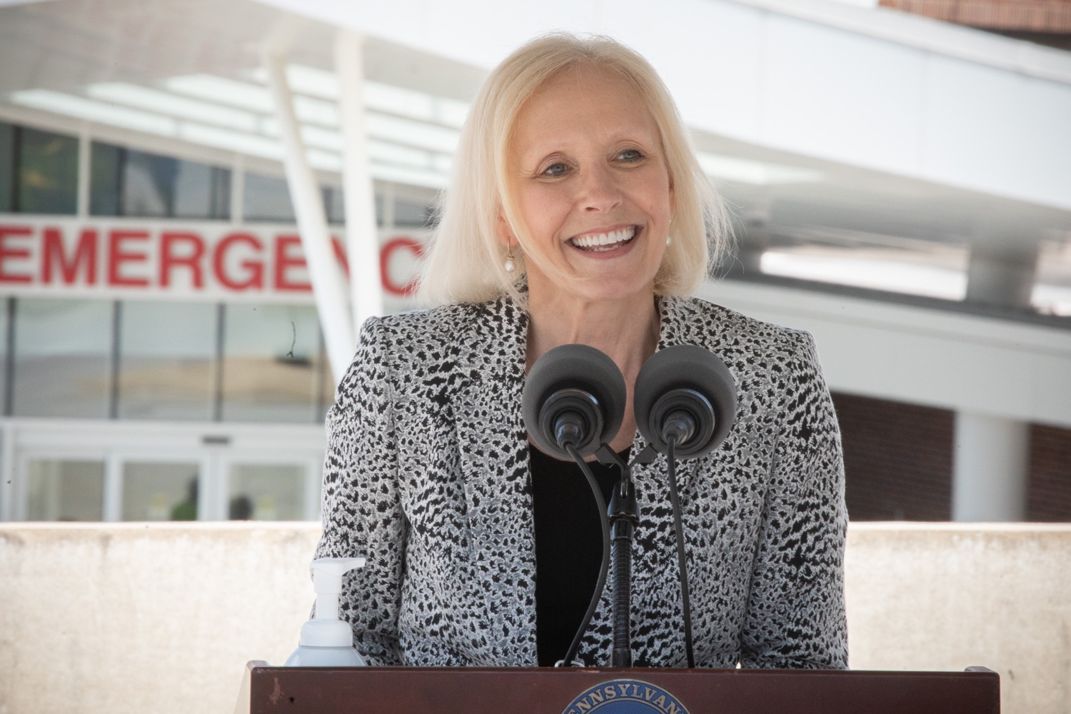 """<a href=""""https://filesource.wostreaming.net/commonwealthofpa/photo/18173_gov_wellspan_hospital_dz_11.jpg"""" target=""""_blank"""">⇣Download Photo<br></a>Roxanne Gapstur, President and CEO WellSpan speaking to the press.  With a recent rise in COVID cases and subsequent additional targeted mitigation efforts put in place, Governor Tom Wolf today visited WellSpan York Hospital to thank staff and emphasize why mask-wearing and social distancing are necessary and effective to fight the spread of COVID-19.  Harrisburg, PA  July 21, 2020"""