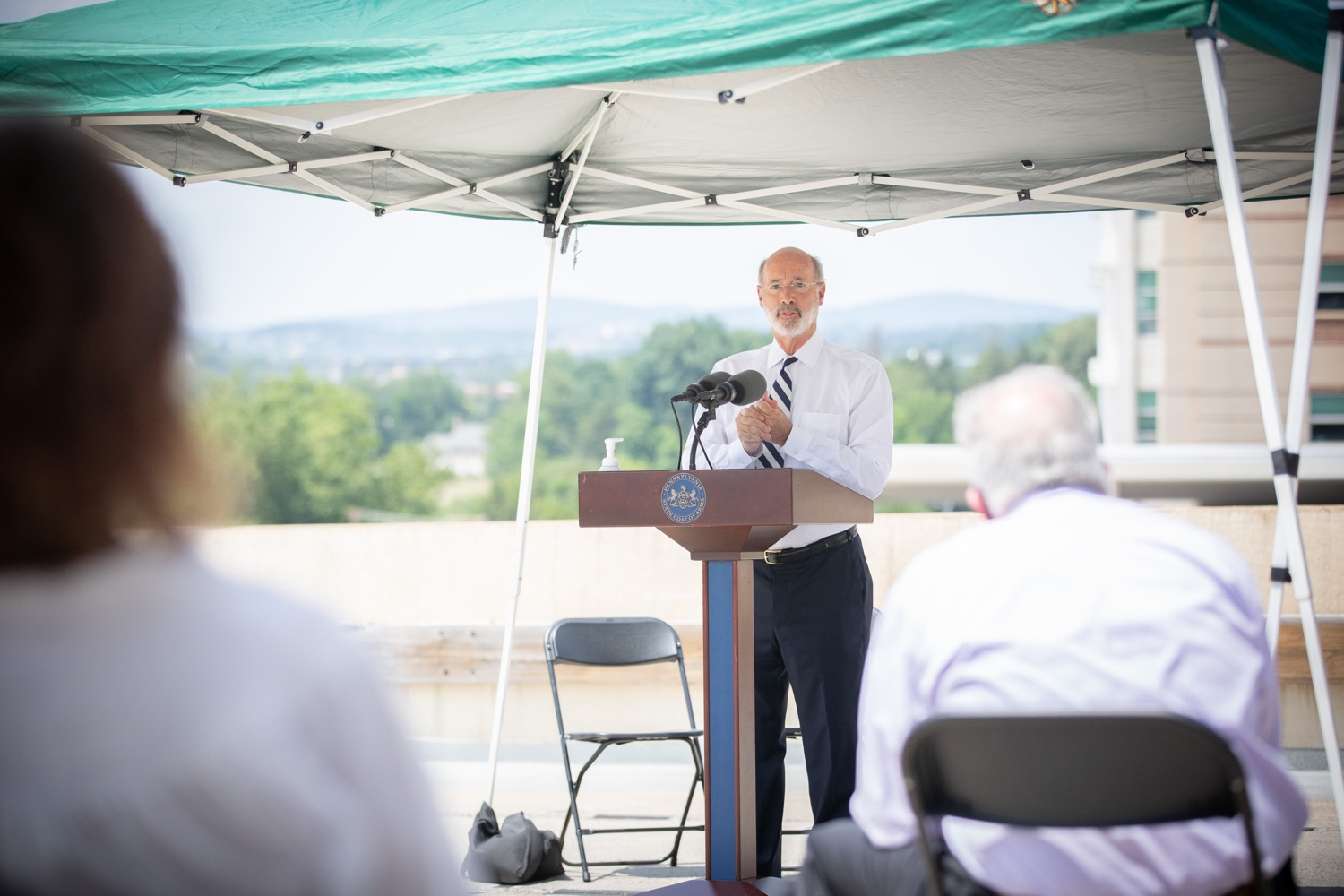"""<a href=""""https://filesource.wostreaming.net/commonwealthofpa/photo/18173_gov_wellspan_hospital_dz_15.jpg"""" target=""""_blank"""">⇣Download Photo<br></a>Pennsylvania governor Tom Wolf speaking to the press.  With a recent rise in COVID cases and subsequent additional targeted mitigation efforts put in place, Governor Tom Wolf today visited WellSpan York Hospital to thank staff and emphasize why mask-wearing and social distancing are necessary and effective to fight the spread of COVID-19.  Harrisburg, PA  July 21, 2020"""
