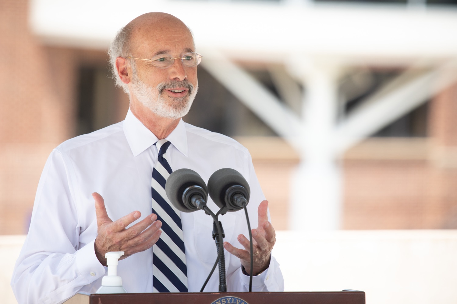 """<a href=""""https://filesource.wostreaming.net/commonwealthofpa/photo/18173_gov_wellspan_hospital_dz_19.jpg"""" target=""""_blank"""">⇣Download Photo<br></a>Pennsylvania governor Tom Wolf speaking to the press.  With a recent rise in COVID cases and subsequent additional targeted mitigation efforts put in place, Governor Tom Wolf today visited WellSpan York Hospital to thank staff and emphasize why mask-wearing and social distancing are necessary and effective to fight the spread of COVID-19.  Harrisburg, PA  July 21, 2020"""