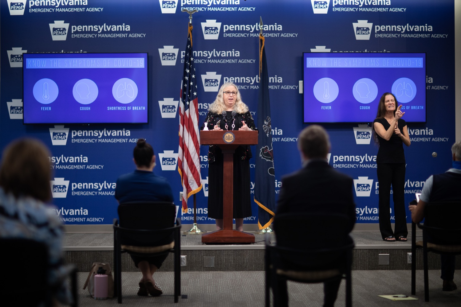 "<a href=""https://filesource.wostreaming.net/commonwealthofpa/photo/18176_doh_covid19_update_dz_02_1.jpg"" target=""_blank"">⇣ Download Photo<br></a>Secretary of Health Dr. Rachel Levine speaking to the press.  The Pennsylvania Department of Health today confirmed as of 12:00 a.m., July 23, that there are 962 additional positive cases of COVID-19, bringing the statewide total to 104,358. All 67 counties in Pennsylvania have cases of COVID-19. Allegheny is reporting an increase of 147 cases, and Philadelphia is reporting an increase of 311 cases. Since there was no data reported from Philadelphia yesterday, the number of new cases is a culmination of cases from the past two days. Harrisburg, PA - July 23, 2020"