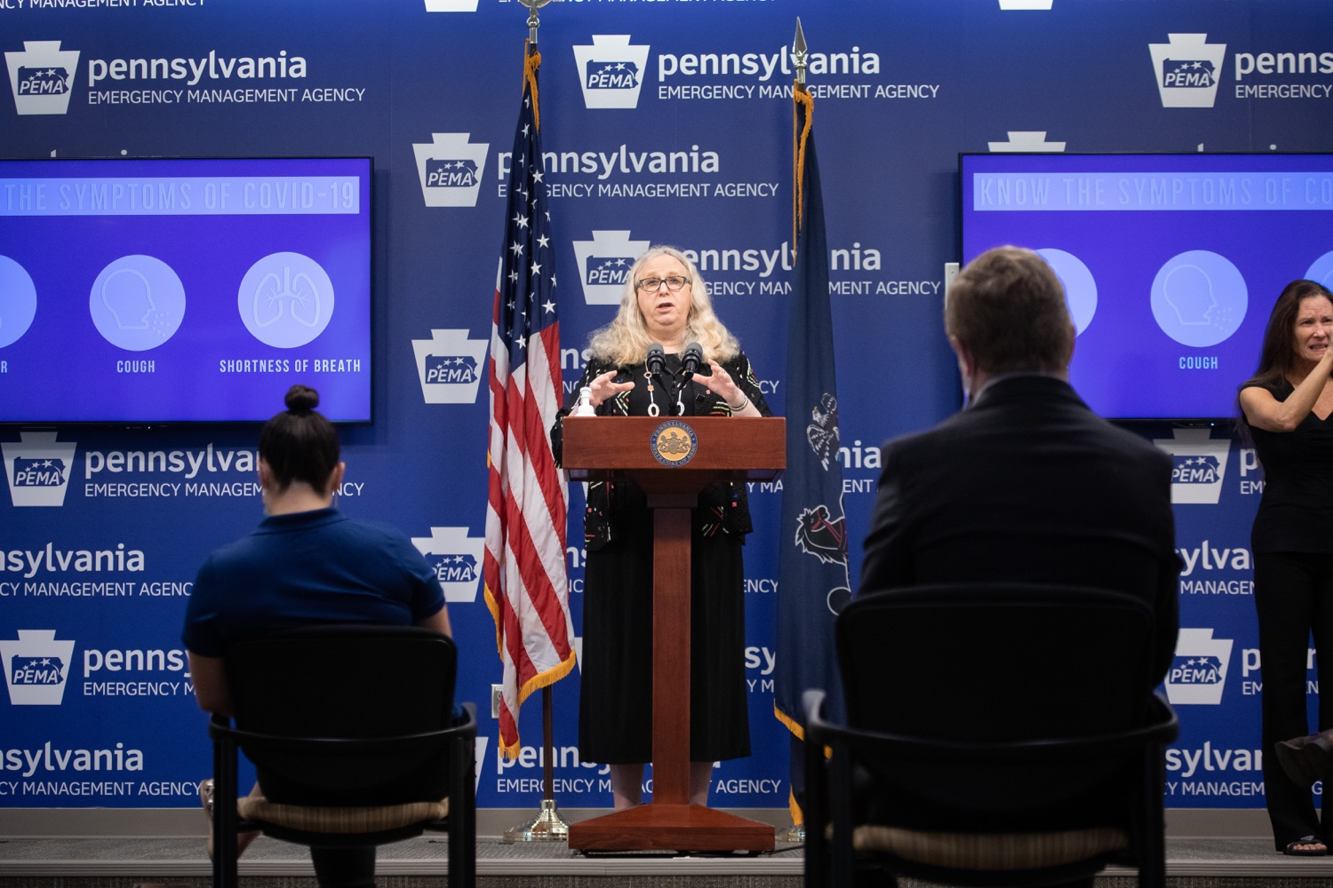 "<a href=""https://filesource.wostreaming.net/commonwealthofpa/photo/18176_doh_covid19_update_dz_04.jpg"" target=""_blank"">⇣ Download Photo<br></a>Secretary of Health Dr. Rachel Levine speaking to the press.  The Pennsylvania Department of Health today confirmed as of 12:00 a.m., July 23, that there are 962 additional positive cases of COVID-19, bringing the statewide total to 104,358. All 67 counties in Pennsylvania have cases of COVID-19. Allegheny is reporting an increase of 147 cases, and Philadelphia is reporting an increase of 311 cases. Since there was no data reported from Philadelphia yesterday, the number of new cases is a culmination of cases from the past two days. Harrisburg, PA - July 23, 2020"