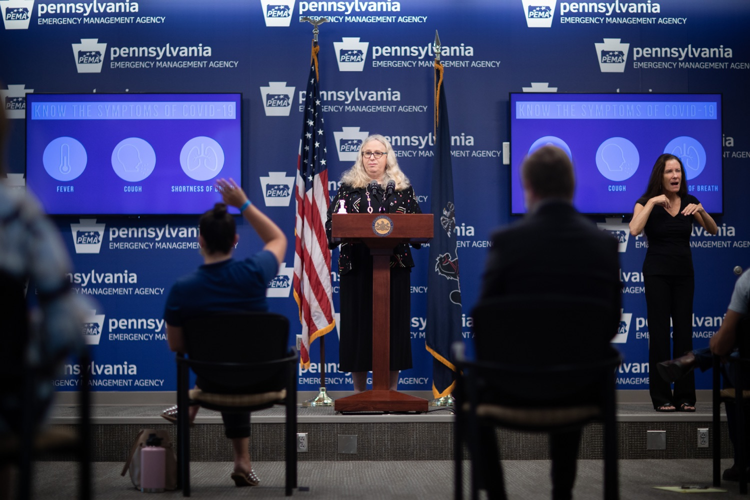 "<a href=""https://filesource.wostreaming.net/commonwealthofpa/photo/18176_doh_covid19_update_dz_06.jpg"" target=""_blank"">⇣ Download Photo<br></a>Secretary of Health Dr. Rachel Levine speaking to the press.  The Pennsylvania Department of Health today confirmed as of 12:00 a.m., July 23, that there are 962 additional positive cases of COVID-19, bringing the statewide total to 104,358. All 67 counties in Pennsylvania have cases of COVID-19. Allegheny is reporting an increase of 147 cases, and Philadelphia is reporting an increase of 311 cases. Since there was no data reported from Philadelphia yesterday, the number of new cases is a culmination of cases from the past two days. Harrisburg, PA - July 23, 2020"