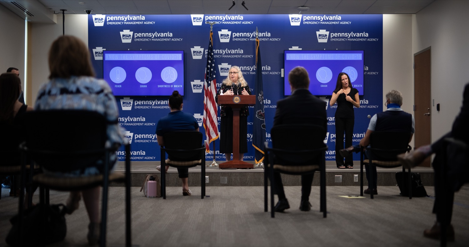 "<a href=""https://filesource.wostreaming.net/commonwealthofpa/photo/18176_doh_covid19_update_dz_08.jpg"" target=""_blank"">⇣ Download Photo<br></a>Secretary of Health Dr. Rachel Levine speaking to the press.  The Pennsylvania Department of Health today confirmed as of 12:00 a.m., July 23, that there are 962 additional positive cases of COVID-19, bringing the statewide total to 104,358. All 67 counties in Pennsylvania have cases of COVID-19. Allegheny is reporting an increase of 147 cases, and Philadelphia is reporting an increase of 311 cases. Since there was no data reported from Philadelphia yesterday, the number of new cases is a culmination of cases from the past two days. Harrisburg, PA - July 23, 2020"