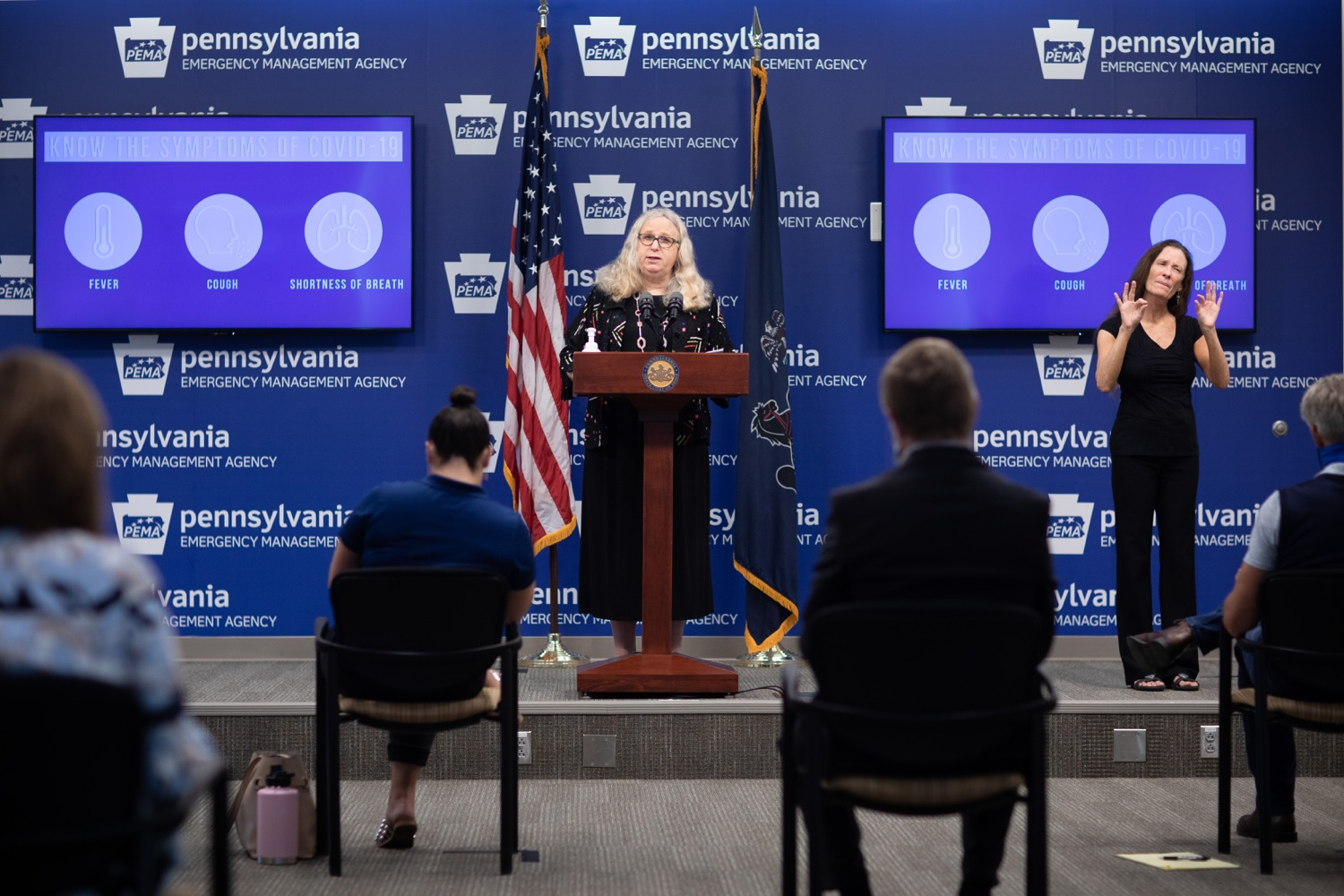 "<a href=""https://filesource.wostreaming.net/commonwealthofpa/photo/18176_doh_covid19_update_dz_10.jpg"" target=""_blank"">⇣ Download Photo<br></a>Secretary of Health Dr. Rachel Levine speaking to the press.  The Pennsylvania Department of Health today confirmed as of 12:00 a.m., July 23, that there are 962 additional positive cases of COVID-19, bringing the statewide total to 104,358. All 67 counties in Pennsylvania have cases of COVID-19. Allegheny is reporting an increase of 147 cases, and Philadelphia is reporting an increase of 311 cases. Since there was no data reported from Philadelphia yesterday, the number of new cases is a culmination of cases from the past two days. Harrisburg, PA - July 23, 2020"