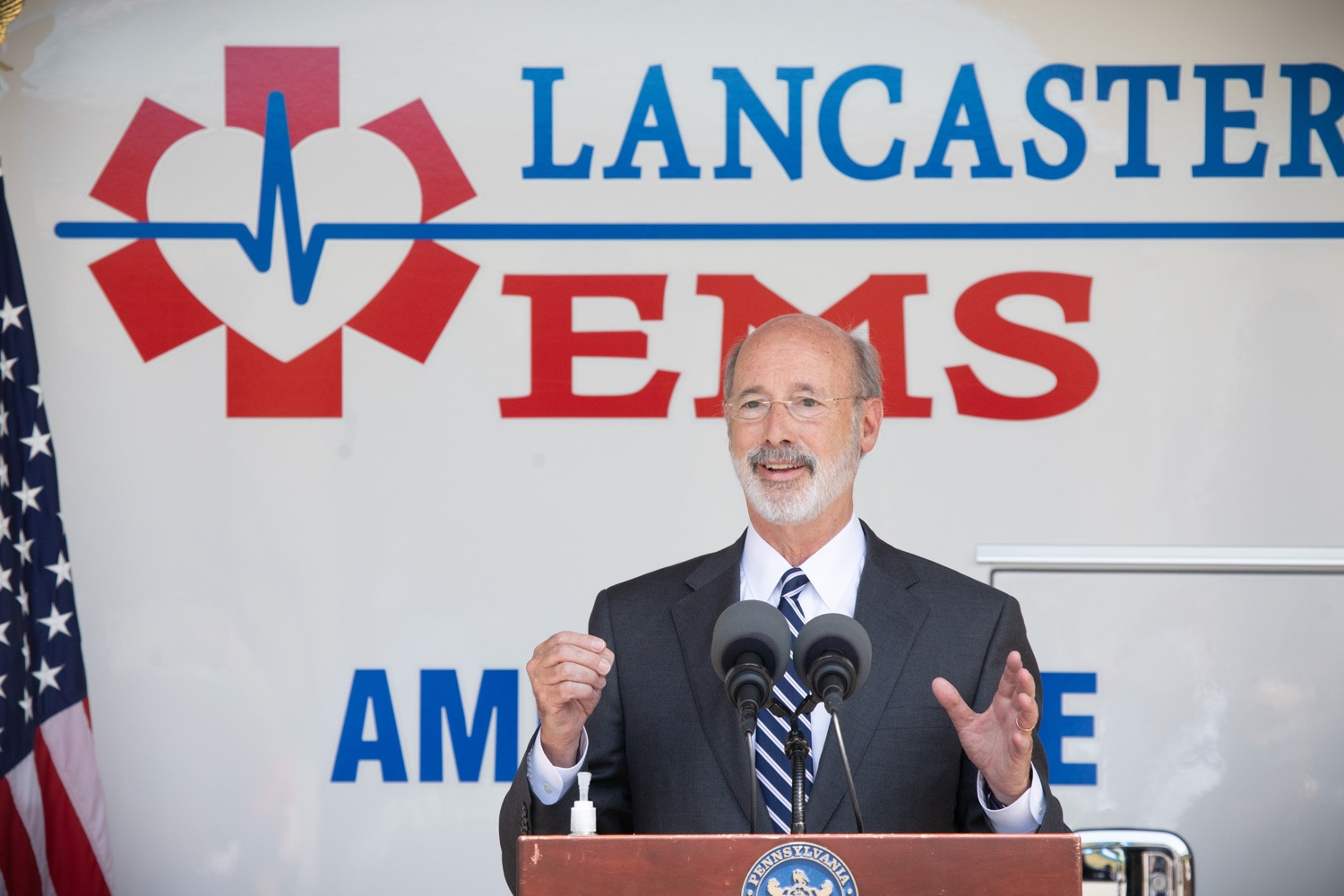 "<a href=""https://filesource.wostreaming.net/commonwealthofpa/photo/18180_gov_first_responders_dz_001.jpg"" target=""_blank"">⇣ Download Photo<br></a>Pennsylvania Governor Tom Wolf speaking to the press. Governor Tom Wolf visited the Millersville location of Lancaster EMS today to thank first responders and learn about how they are adapting their critical work during the states response to the COVID-19 pandemic.  Millersville, PA  July 30, 2020"