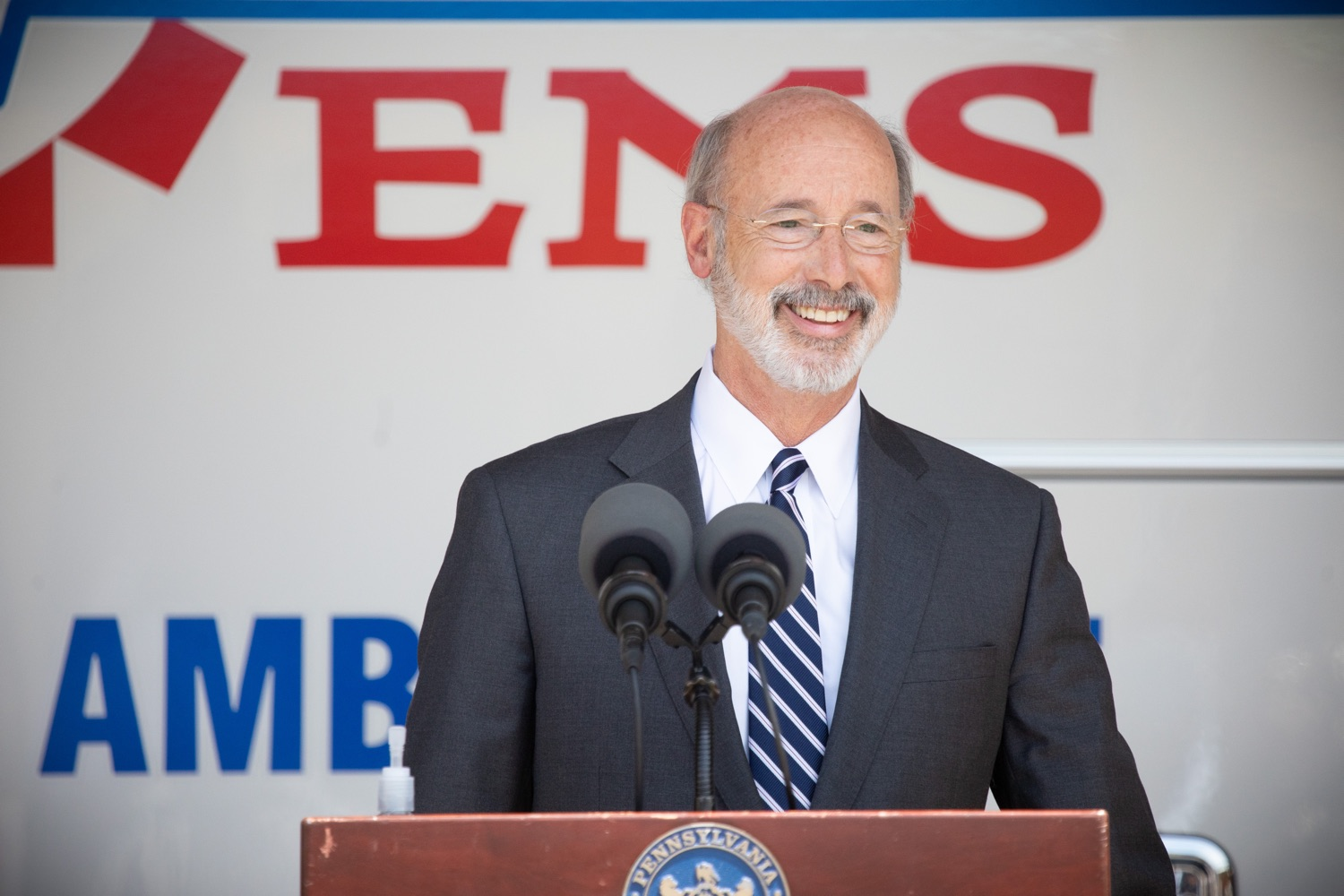 "<a href=""https://filesource.wostreaming.net/commonwealthofpa/photo/18180_gov_first_responders_dz_004.jpg"" target=""_blank"">⇣ Download Photo<br></a>Pennsylvania Governor Tom Wolf speaking to the press. Governor Tom Wolf visited the Millersville location of Lancaster EMS today to thank first responders and learn about how they are adapting their critical work during the states response to the COVID-19 pandemic.  Millersville, PA  July 30, 2020"