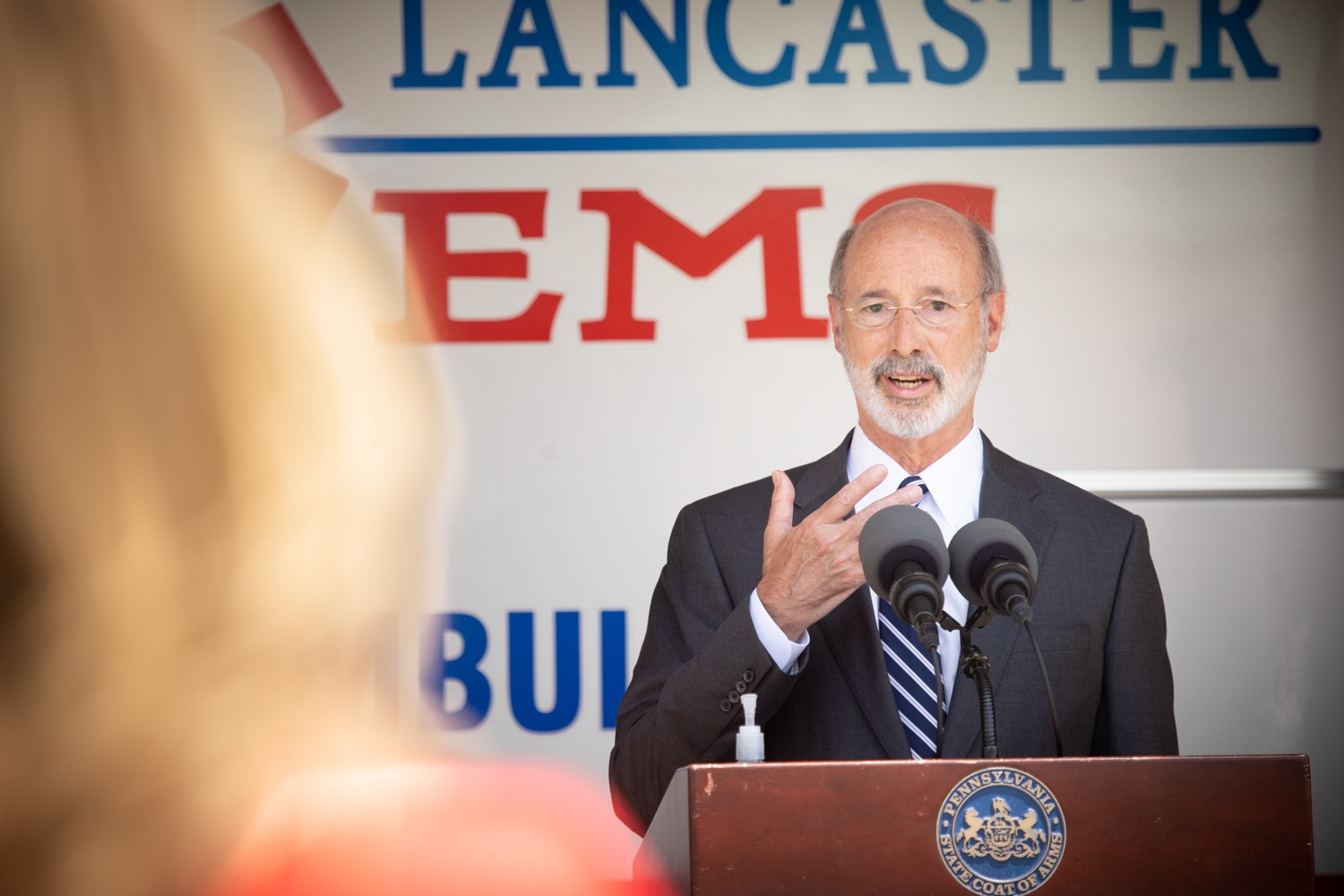 "<a href=""https://filesource.wostreaming.net/commonwealthofpa/photo/18180_gov_first_responders_dz_008.jpg"" target=""_blank"">⇣ Download Photo<br></a>Pennsylvania Governor Tom Wolf speaking to the press. Governor Tom Wolf visited the Millersville location of Lancaster EMS today to thank first responders and learn about how they are adapting their critical work during the states response to the COVID-19 pandemic.  Millersville, PA  July 30, 2020"