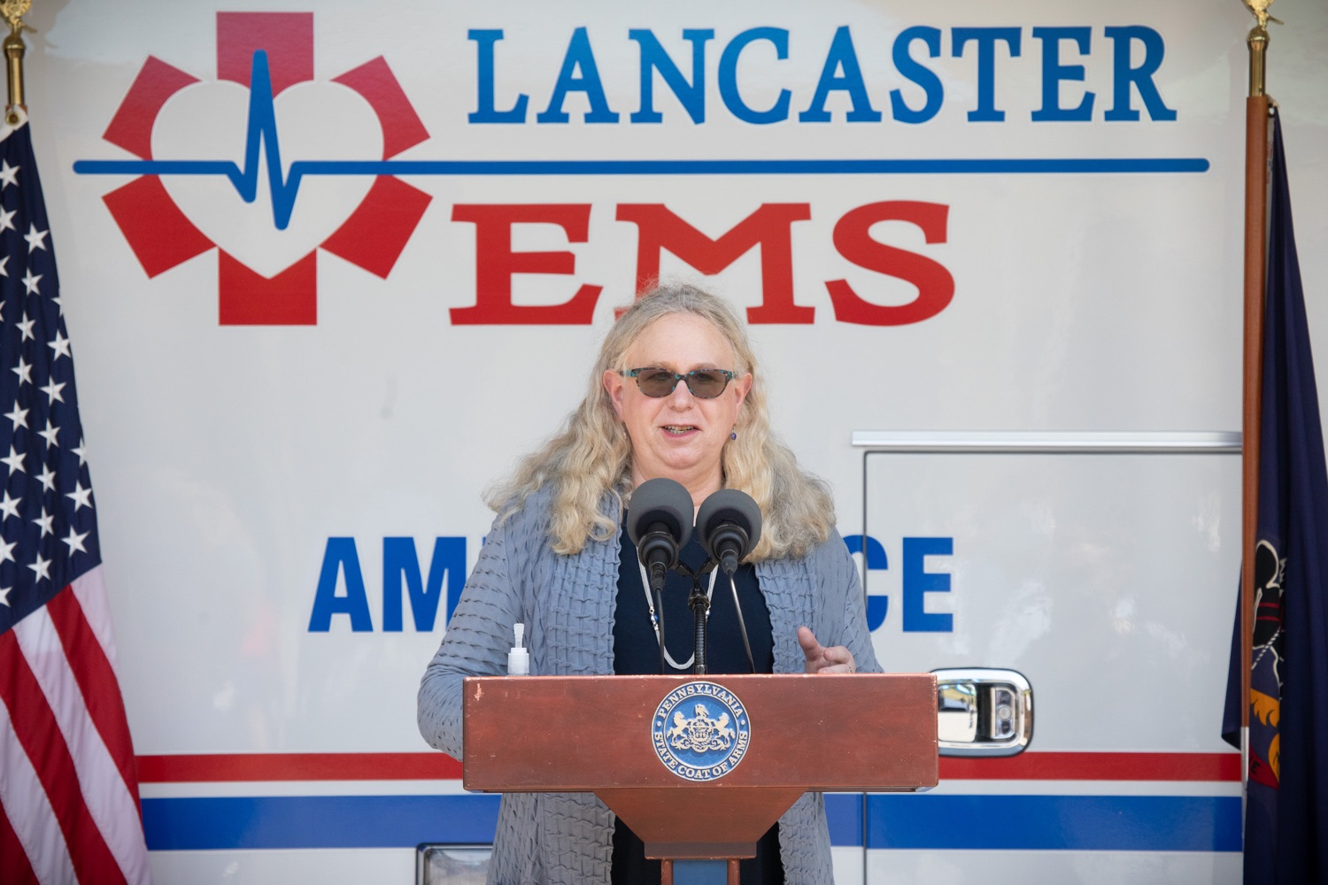 "<a href=""https://filesource.wostreaming.net/commonwealthofpa/photo/18180_gov_first_responders_dz_010.jpg"" target=""_blank"">⇣ Download Photo<br></a>Secretary of Health for the Commonwealth of Pennsylvania, Dr. Rachel Levine, speaking to the press. Governor Tom Wolf visited the Millersville location of Lancaster EMS today to thank first responders and learn about how they are adapting their critical work during the states response to the COVID-19 pandemic.  Millersville, PA  July 30, 2020"