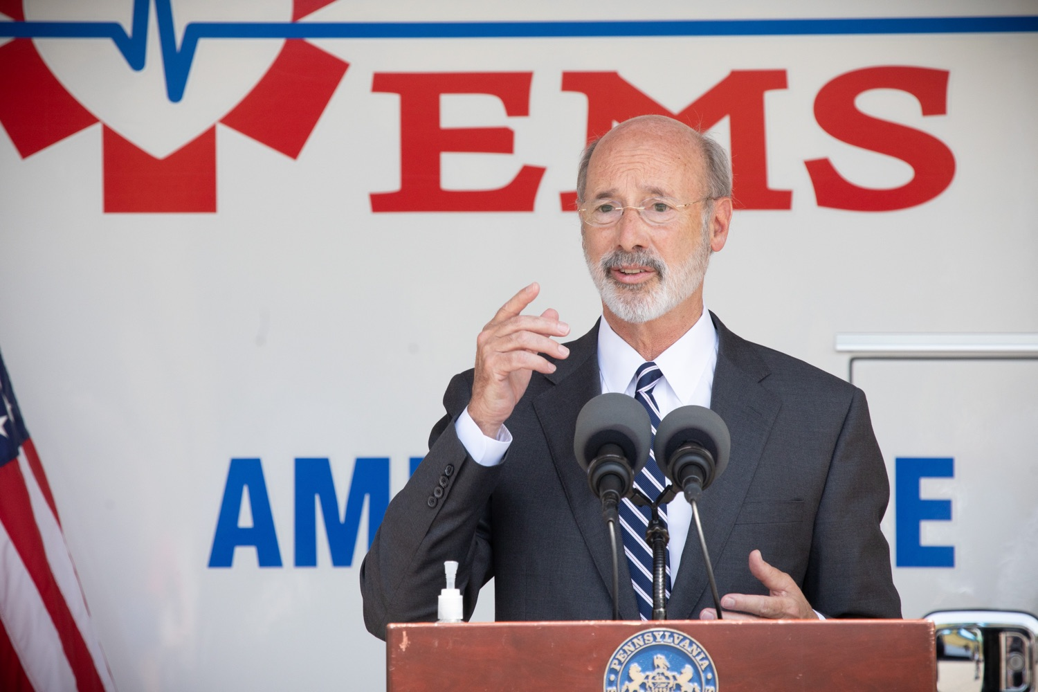 "<a href=""https://filesource.wostreaming.net/commonwealthofpa/photo/18180_gov_first_responders_dz_011.jpg"" target=""_blank"">⇣ Download Photo<br></a>Pennsylvania Governor Tom Wolf speaking to the press. Governor Tom Wolf visited the Millersville location of Lancaster EMS today to thank first responders and learn about how they are adapting their critical work during the states response to the COVID-19 pandemic.  Millersville, PA  July 30, 2020"