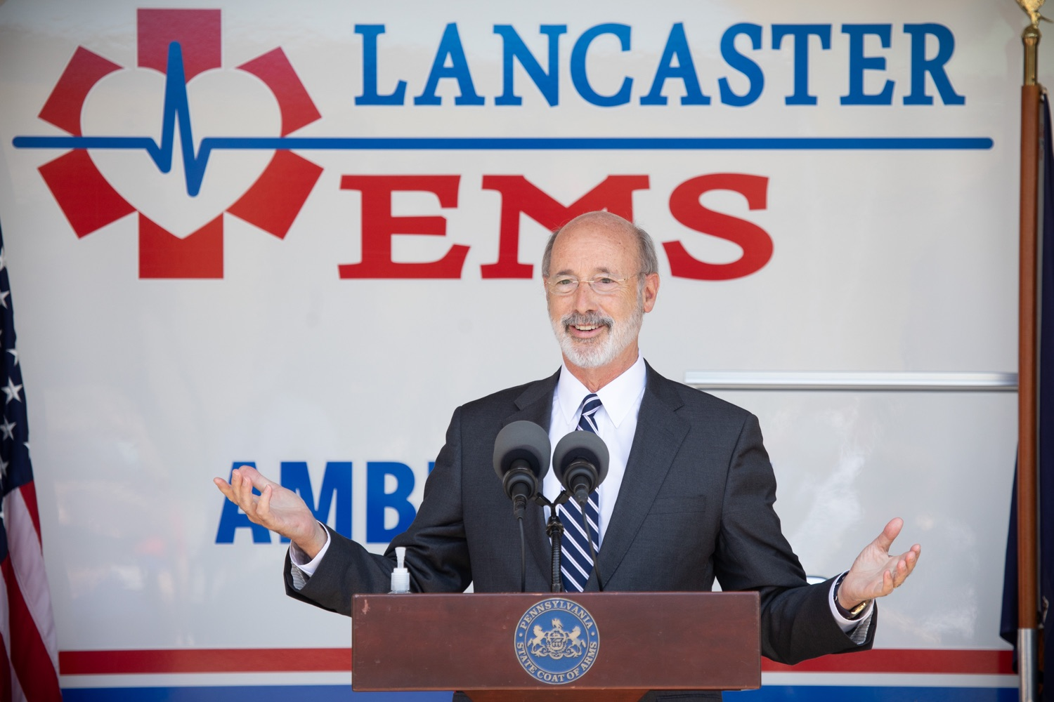 "<a href=""https://filesource.wostreaming.net/commonwealthofpa/photo/18180_gov_first_responders_dz_015.jpg"" target=""_blank"">⇣ Download Photo<br></a>Pennsylvania Governor Tom Wolf speaking with Lancaster EMS employees and their families. Governor Tom Wolf visited the Millersville location of Lancaster EMS today to thank first responders and learn about how they are adapting their critical work during the states response to the COVID-19 pandemic.  Millersville, PA  July 30, 2020"