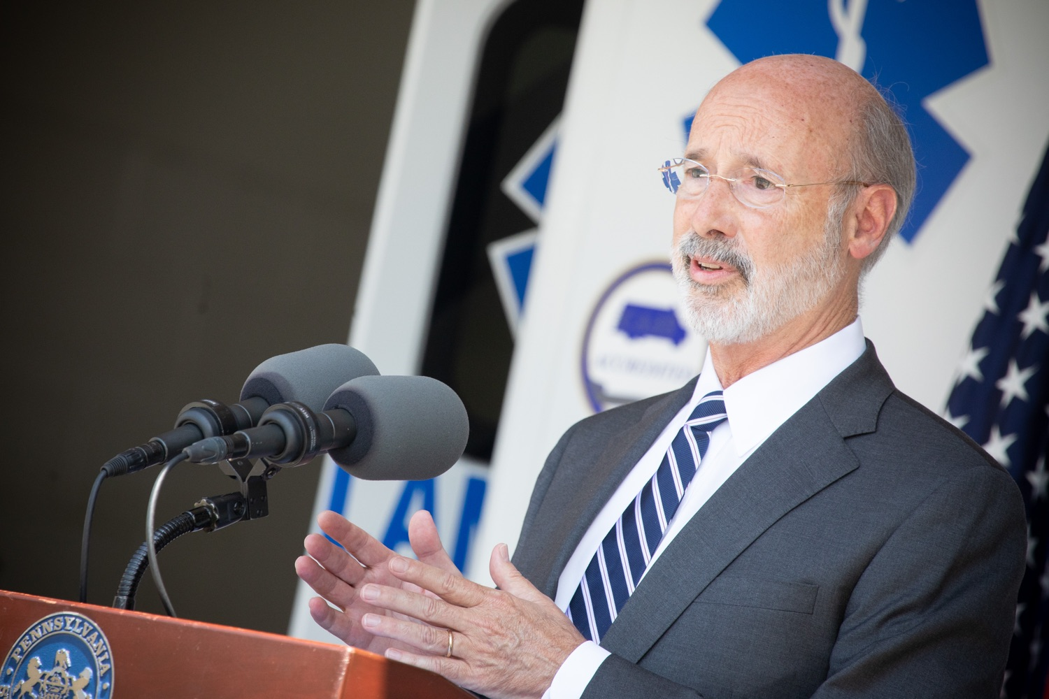 "<a href=""https://filesource.wostreaming.net/commonwealthofpa/photo/18180_gov_first_responders_dz_018.jpg"" target=""_blank"">⇣ Download Photo<br></a>Pennsylvania Governor Tom Wolf speaking to the press. Governor Tom Wolf visited the Millersville location of Lancaster EMS today to thank first responders and learn about how they are adapting their critical work during the states response to the COVID-19 pandemic.  Millersville, PA  July 30, 2020"