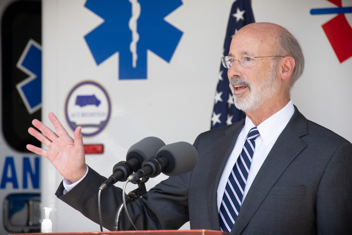 "<a href=""https://filesource.wostreaming.net/commonwealthofpa/photo/18180_gov_first_responders_dz_021.jpg"" target=""_blank"">⇣ Download Photo<br></a>Pennsylvania Governor Tom Wolf speaking to the press. Governor Tom Wolf visited the Millersville location of Lancaster EMS today to thank first responders and learn about how they are adapting their critical work during the states response to the COVID-19 pandemic.  Millersville, PA  July 30, 2020"