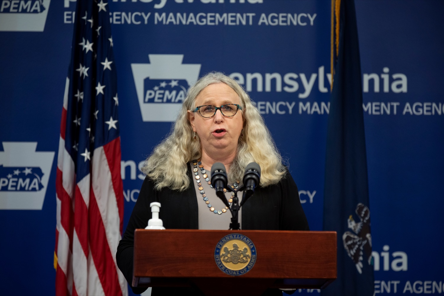 """<a href=""""https://filesource.wostreaming.net/commonwealthofpa/photo/18182_DOH_Covid_Update_109384_NK_011.jpg"""" target=""""_blank"""">⇣Download Photo<br></a>Dr. Rachel Levine, secretary of the Pennsylvania Department of Health, speaks during a press conference addressing the 2019 Novel Coronavirus (COVID-19) in Pennsylvania, inside PEMA headquarters on Tuesday, July 28, 2020."""
