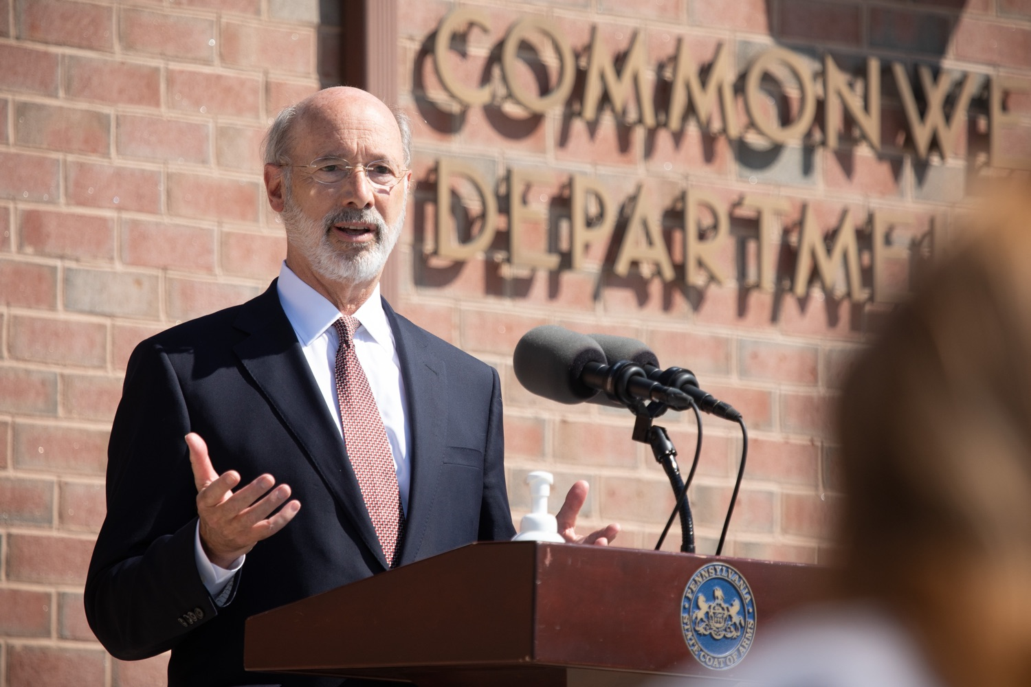 """<a href=""""https://filesource.wostreaming.net/commonwealthofpa/photo/18184_gov_CareerLink03.JPG"""" target=""""_blank"""">⇣Download Photo<br></a>Pennsylvania governor Tom Wolf speaking with the press at the event.  Governor Tom Wolf today visited the PA CareerLink York County to highlight the virtual services available to people looking for work and employers seeking qualified candidates. The governor also urged Republicans in Congress to extend the Federal Pandemic Unemployment Compensation program that provides an extra $600 a week to people receiving unemployment compensation. The federal program ended July 25.  Harrisburg, PA  July 28, 2020"""
