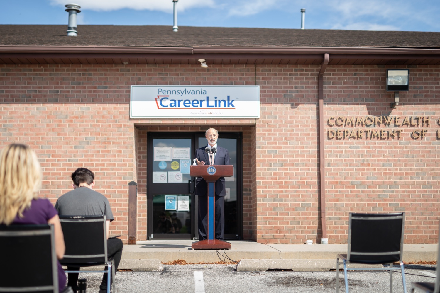 "<a href=""https://filesource.wostreaming.net/commonwealthofpa/photo/18184_gov_CareerLink07.JPG"" target=""_blank"">⇣ Download Photo<br></a>Pennsylvania governor Tom Wolf speaking at the event.  Governor Tom Wolf today visited the PA CareerLink York County to highlight the virtual services available to people looking for work and employers seeking qualified candidates. The governor also urged Republicans in Congress to extend the Federal Pandemic Unemployment Compensation program that provides an extra $600 a week to people receiving unemployment compensation. The federal program ended July 25.  Harrisburg, PA  July 28, 2020"