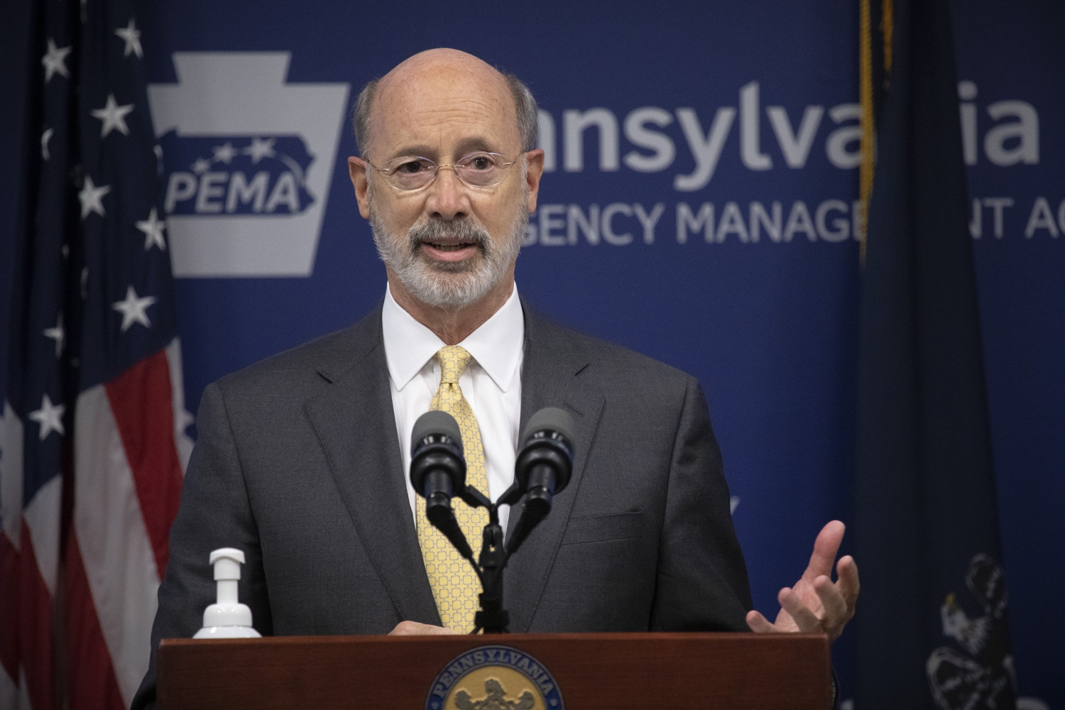 """<a href=""""https://filesource.wostreaming.net/commonwealthofpa/photo/18201_gov_orasure_dz_001.jpg"""" target=""""_blank"""">⇣Download Photo<br></a>Pennsylvania Governor Tom Wolf speaking to the press.  Today, Governor Tom Wolf announced that OraSure Technologies Inc., a developer and manufacturer of rapid diagnostic tests, collection and stabilization devices headquartered in Northampton County, will expand its manufacturing operations in the Lehigh Valley, creating 177 new, full-time jobs and retaining 233 jobs.  Harrisburg, PA  August 11, 2020"""