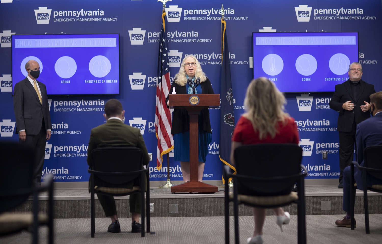 """<a href=""""https://filesource.wostreaming.net/commonwealthofpa/photo/18201_gov_orasure_dz_002.jpg"""" target=""""_blank"""">⇣Download Photo<br></a>Pennsylvania Secretary of health Dr. Rachel Levine speaking to the press.   Today, Governor Tom Wolf announced that OraSure Technologies Inc., a developer and manufacturer of rapid diagnostic tests, collection and stabilization devices headquartered in Northampton County, will expand its manufacturing operations in the Lehigh Valley, creating 177 new, full-time jobs and retaining 233 jobs.  Harrisburg, PA  August 11, 2020"""