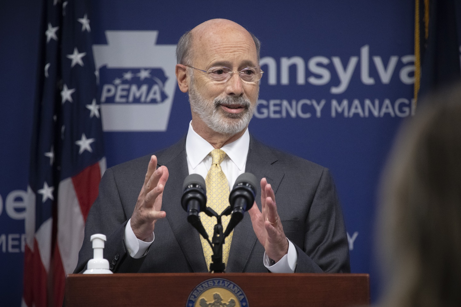 """<a href=""""https://filesource.wostreaming.net/commonwealthofpa/photo/18201_gov_orasure_dz_004.jpg"""" target=""""_blank"""">⇣Download Photo<br></a>Pennsylvania Governor Tom Wolf speaking to the press.  Today, Governor Tom Wolf announced that OraSure Technologies Inc., a developer and manufacturer of rapid diagnostic tests, collection and stabilization devices headquartered in Northampton County, will expand its manufacturing operations in the Lehigh Valley, creating 177 new, full-time jobs and retaining 233 jobs.  Harrisburg, PA  August 11, 2020"""