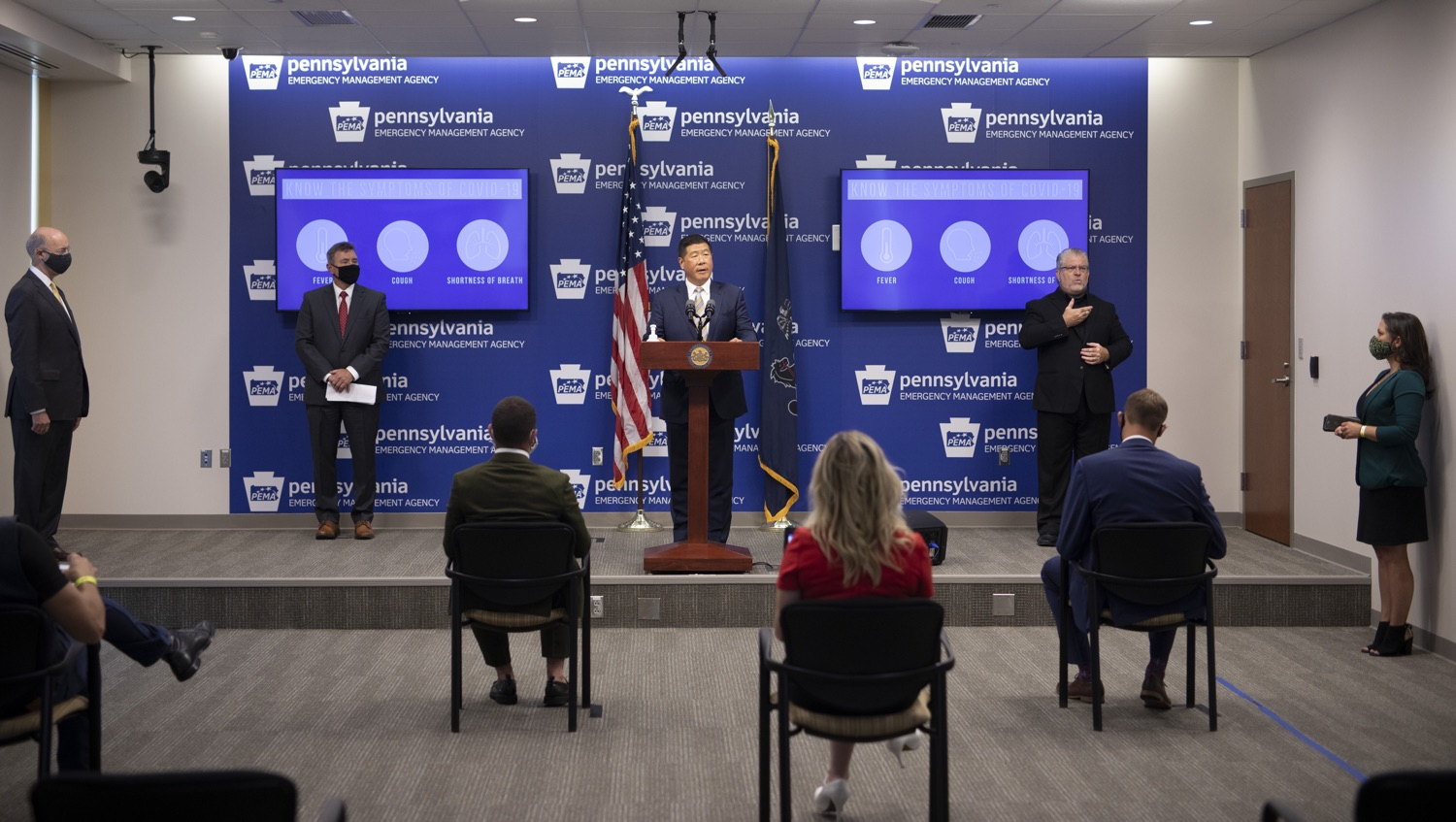 """<a href=""""https://filesource.wostreaming.net/commonwealthofpa/photo/18201_gov_orasure_dz_005.jpg"""" target=""""_blank"""">⇣Download Photo<br></a>OraSure President & CEO Dr. Stephen Tang speaking to the press.  Today, Governor Tom Wolf announced that OraSure Technologies Inc., a developer and manufacturer of rapid diagnostic tests, collection and stabilization devices headquartered in Northampton County, will expand its manufacturing operations in the Lehigh Valley, creating 177 new, full-time jobs and retaining 233 jobs.  Harrisburg, PA  August 11, 2020"""