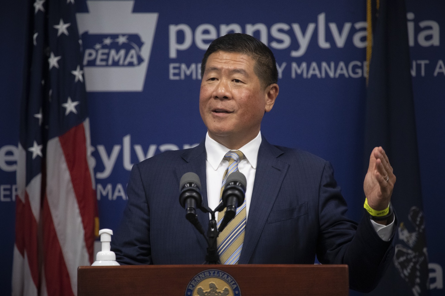 """<a href=""""https://filesource.wostreaming.net/commonwealthofpa/photo/18201_gov_orasure_dz_006.jpg"""" target=""""_blank"""">⇣Download Photo<br></a>OraSure President & CEO Dr. Stephen Tang speaking to the press.  Today, Governor Tom Wolf announced that OraSure Technologies Inc., a developer and manufacturer of rapid diagnostic tests, collection and stabilization devices headquartered in Northampton County, will expand its manufacturing operations in the Lehigh Valley, creating 177 new, full-time jobs and retaining 233 jobs.  Harrisburg, PA  August 11, 2020"""
