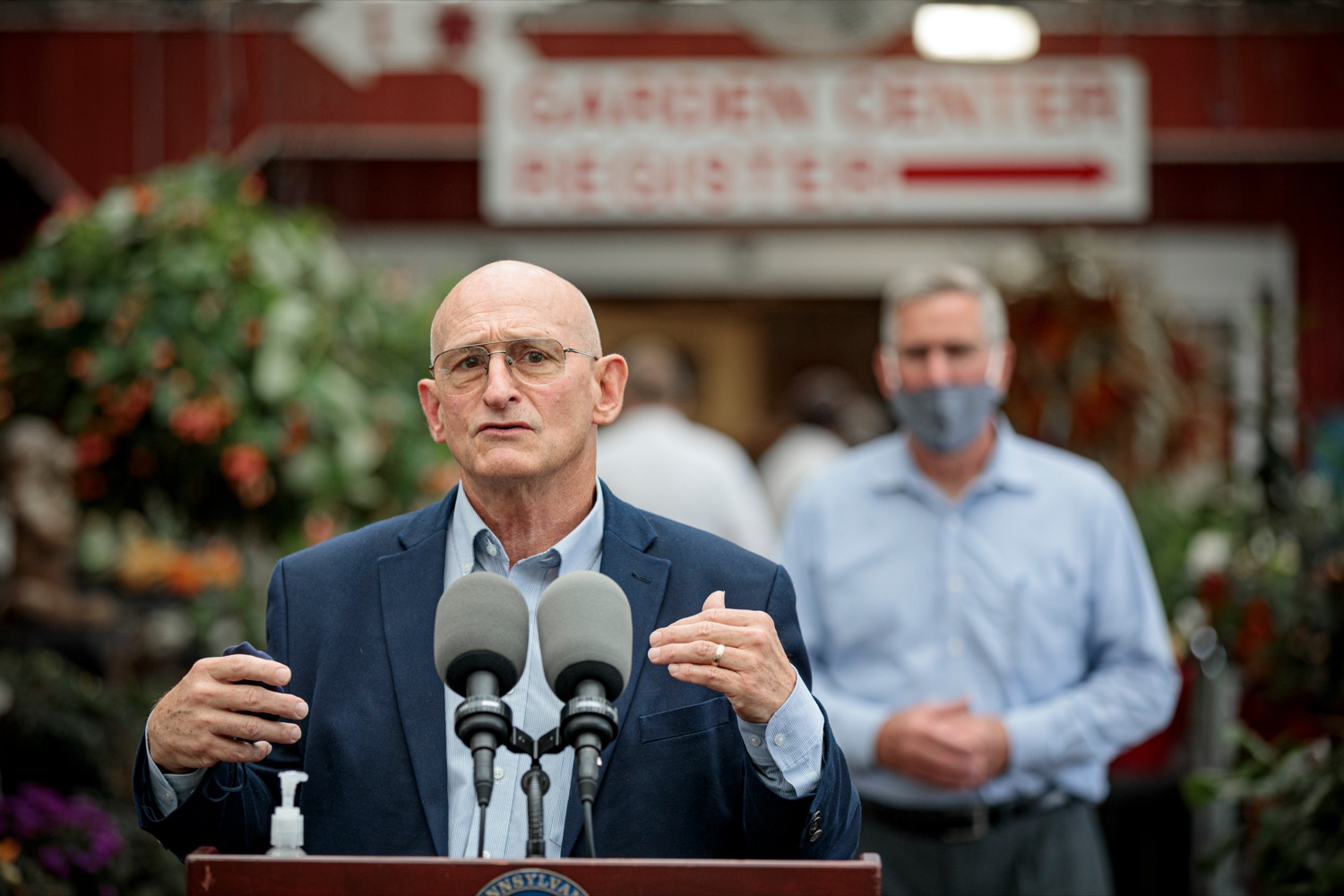 "<a href=""https://filesource.wostreaming.net/commonwealthofpa/photo/18235_AGRIC_SLF_NK_013.jpg"" target=""_blank"">⇣ Download Photo<br></a>Rick Roush, Penn State dean of agriculture, speaks during a press conference urging Pennsylvanians to act now against the Spotted Lanternfly for the sake of food security, at Cherry Hill Orchard Outlet and Garden Center in Lancaster on Thursday, September 10, 2020."