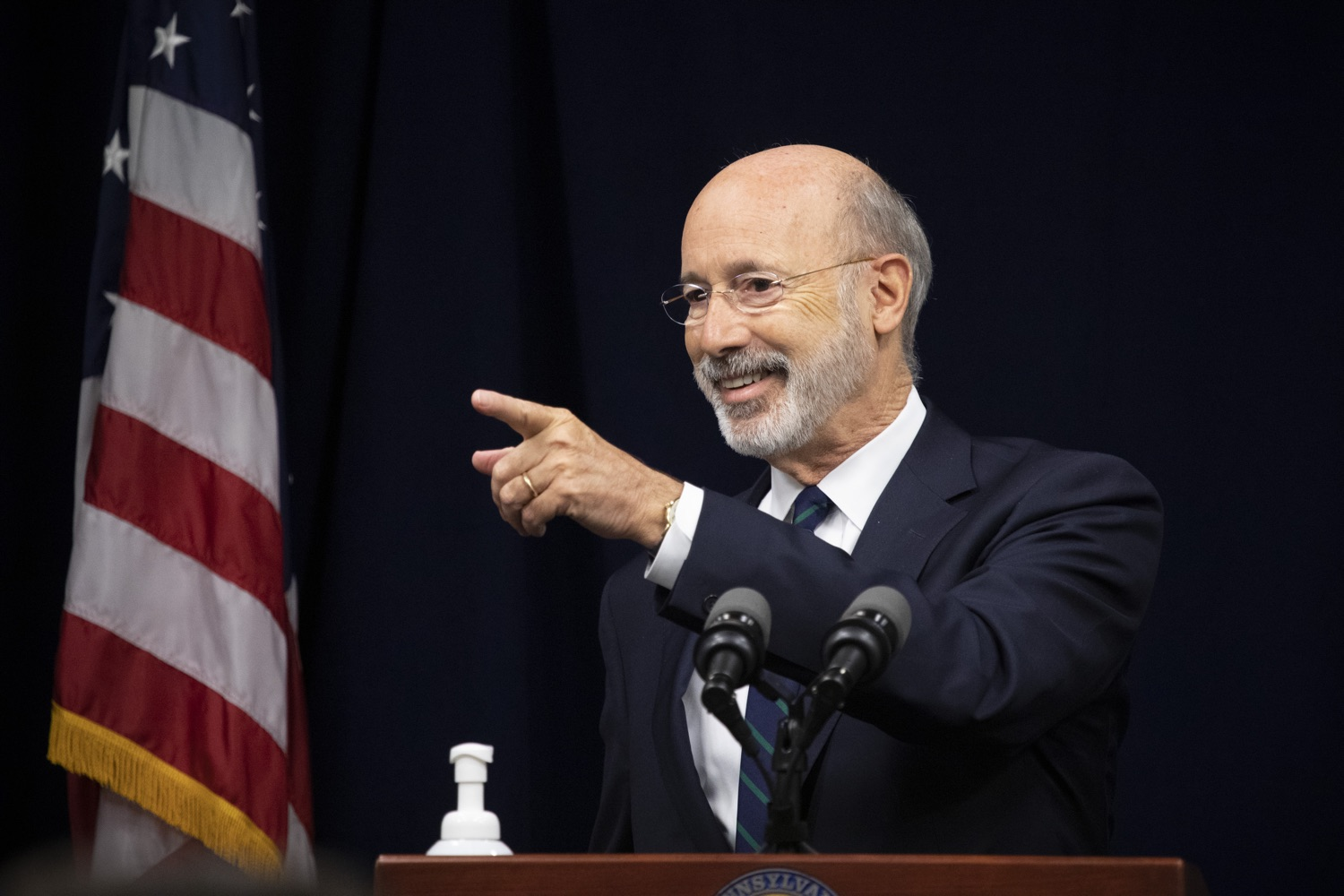 """<a href=""""https://filesource.wostreaming.net/commonwealthofpa/photo/18239_gov_recMarijuana_dz_003.jpg"""" target=""""_blank"""">⇣Download Photo<br></a>Pennsylvania Governor Tom Wolf speaking with the press. Governor Tom Wolf and Lt. Governor John Fetterman today called on the legislature to take up the legalization of adult-use cannabis to help with the states economic recovery amid COVID-19. Legalization will also create more outlets for important restorative justice programs in the commonwealth.  Harrisburg, PA  Sept. 3, 2020"""