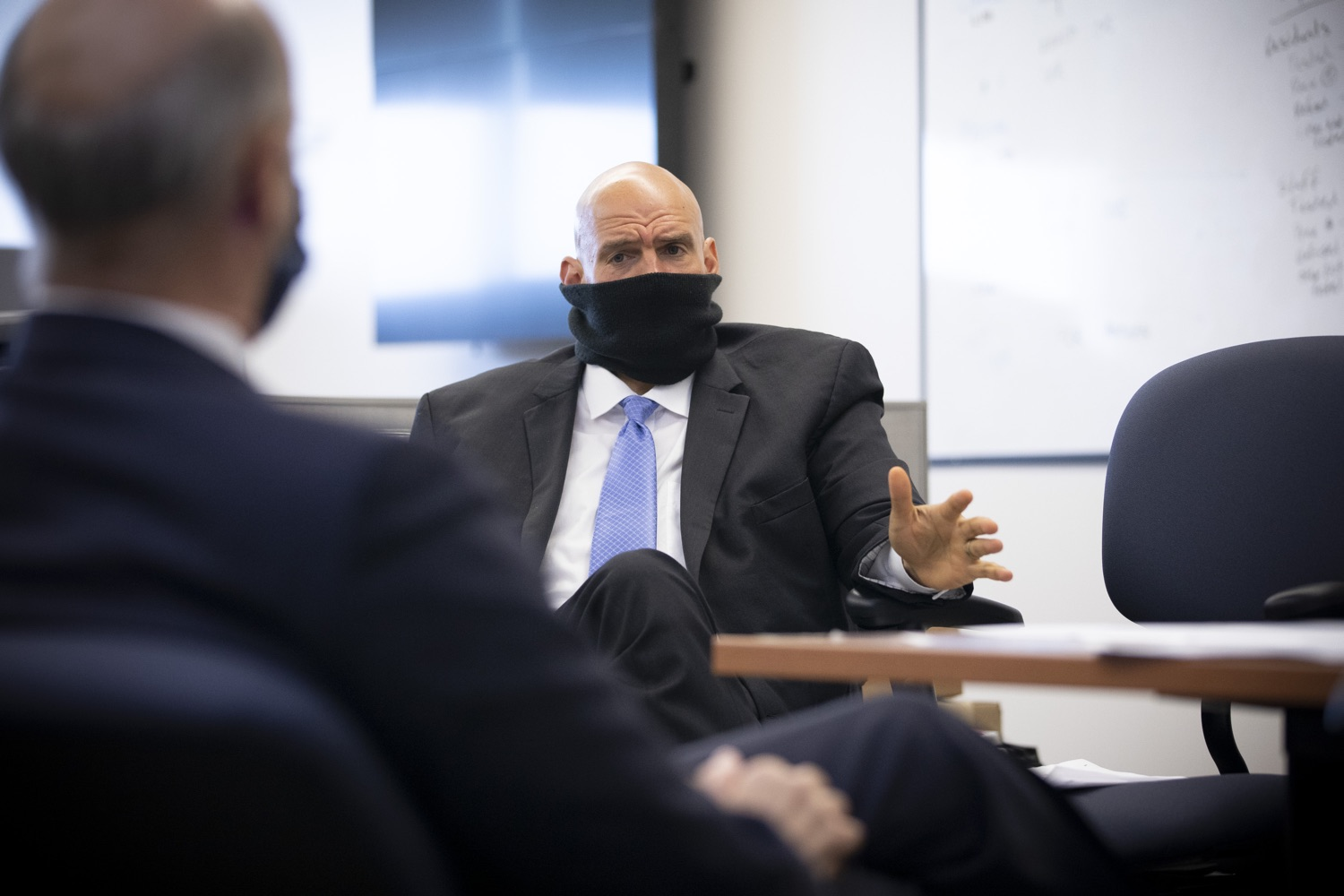 """<a href=""""https://filesource.wostreaming.net/commonwealthofpa/photo/18239_gov_recMarijuana_dz_005.jpg"""" target=""""_blank"""">⇣Download Photo<br></a>Lt. Gov. John Fetterman speaking with Governor Tom Wolf before the event. Governor Tom Wolf and Lt. Governor John Fetterman today called on the legislature to take up the legalization of adult-use cannabis to help with the states economic recovery amid COVID-19. Legalization will also create more outlets for important restorative justice programs in the commonwealth.  Harrisburg, PA  Sept. 3, 2020"""