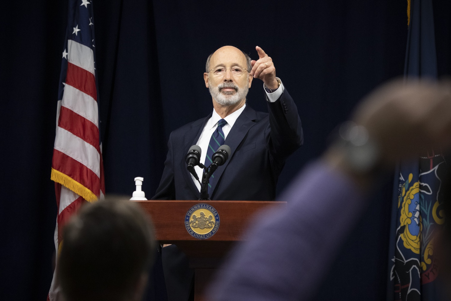 """<a href=""""https://filesource.wostreaming.net/commonwealthofpa/photo/18239_gov_recMarijuana_dz_007.jpg"""" target=""""_blank"""">⇣Download Photo<br></a>Pennsylvania Governor Tom Wolf speaking with the press. Governor Tom Wolf and Lt. Governor John Fetterman today called on the legislature to take up the legalization of adult-use cannabis to help with the states economic recovery amid COVID-19. Legalization will also create more outlets for important restorative justice programs in the commonwealth.  Harrisburg, PA  Sept. 3, 2020"""