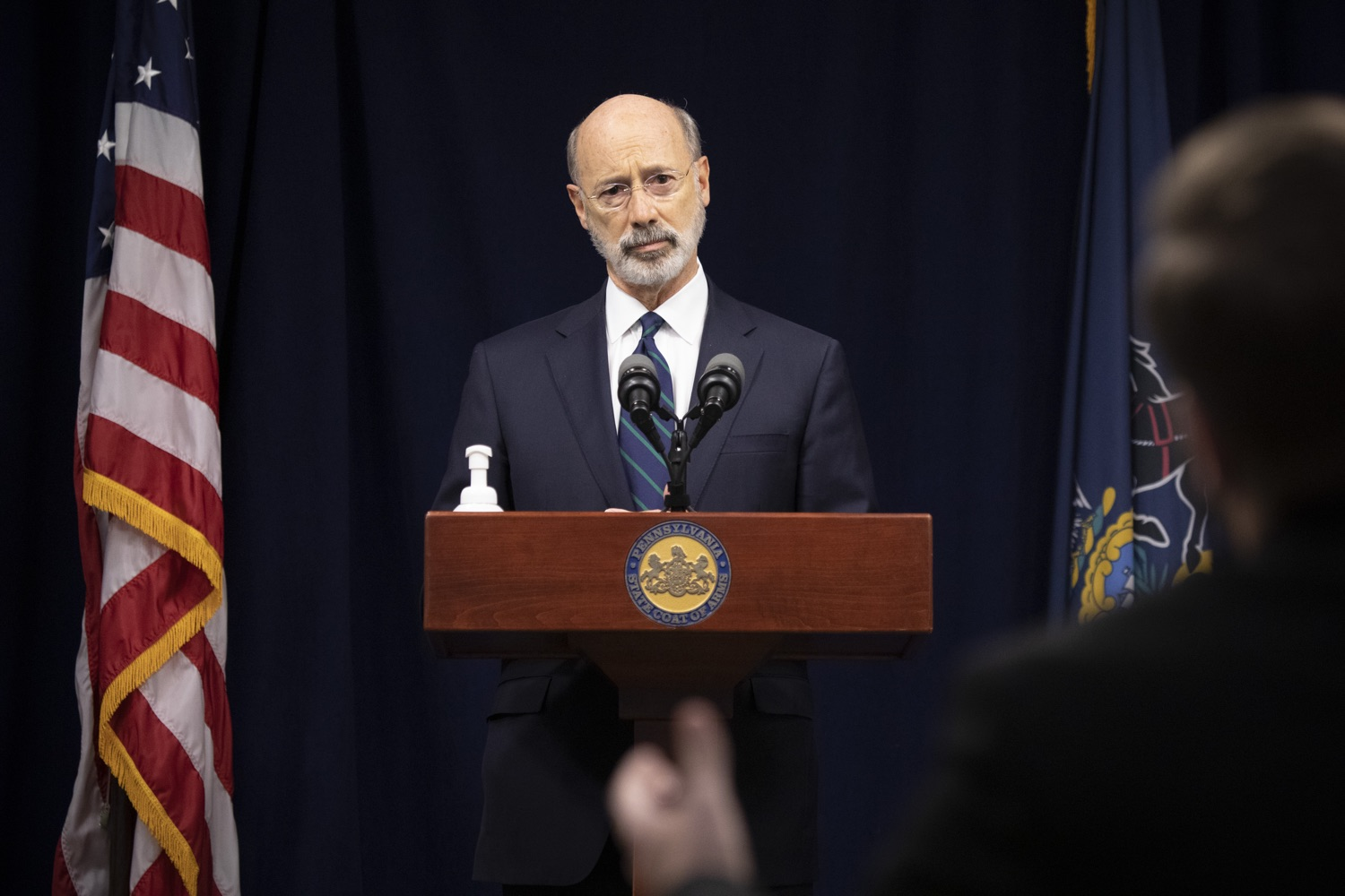 """<a href=""""https://filesource.wostreaming.net/commonwealthofpa/photo/18239_gov_recMarijuana_dz_009.jpg"""" target=""""_blank"""">⇣Download Photo<br></a>Pennsylvania Governor Tom Wolf speaking with the press. Governor Tom Wolf and Lt. Governor John Fetterman today called on the legislature to take up the legalization of adult-use cannabis to help with the states economic recovery amid COVID-19. Legalization will also create more outlets for important restorative justice programs in the commonwealth.  Harrisburg, PA  Sept. 3, 2020"""