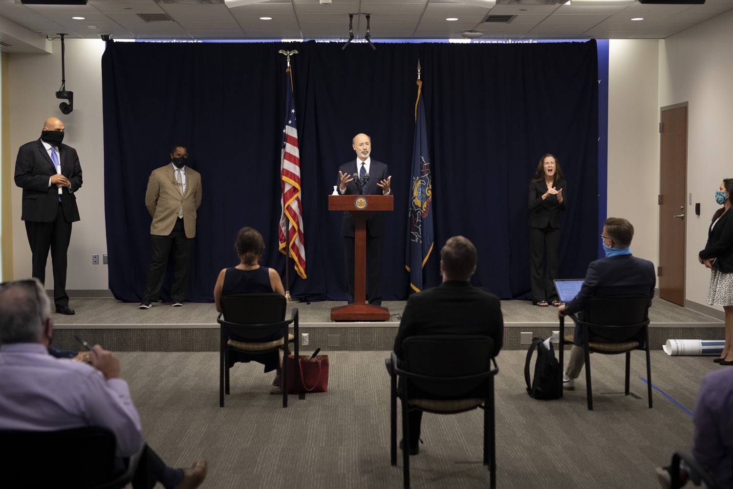 """<a href=""""https://filesource.wostreaming.net/commonwealthofpa/photo/18239_gov_recMarijuana_dz_010.jpg"""" target=""""_blank"""">⇣Download Photo<br></a>Pennsylvania Governor Tom Wolf speaking with the press. Governor Tom Wolf and Lt. Governor John Fetterman today called on the legislature to take up the legalization of adult-use cannabis to help with the states economic recovery amid COVID-19. Legalization will also create more outlets for important restorative justice programs in the commonwealth.  Harrisburg, PA  Sept. 3, 2020"""