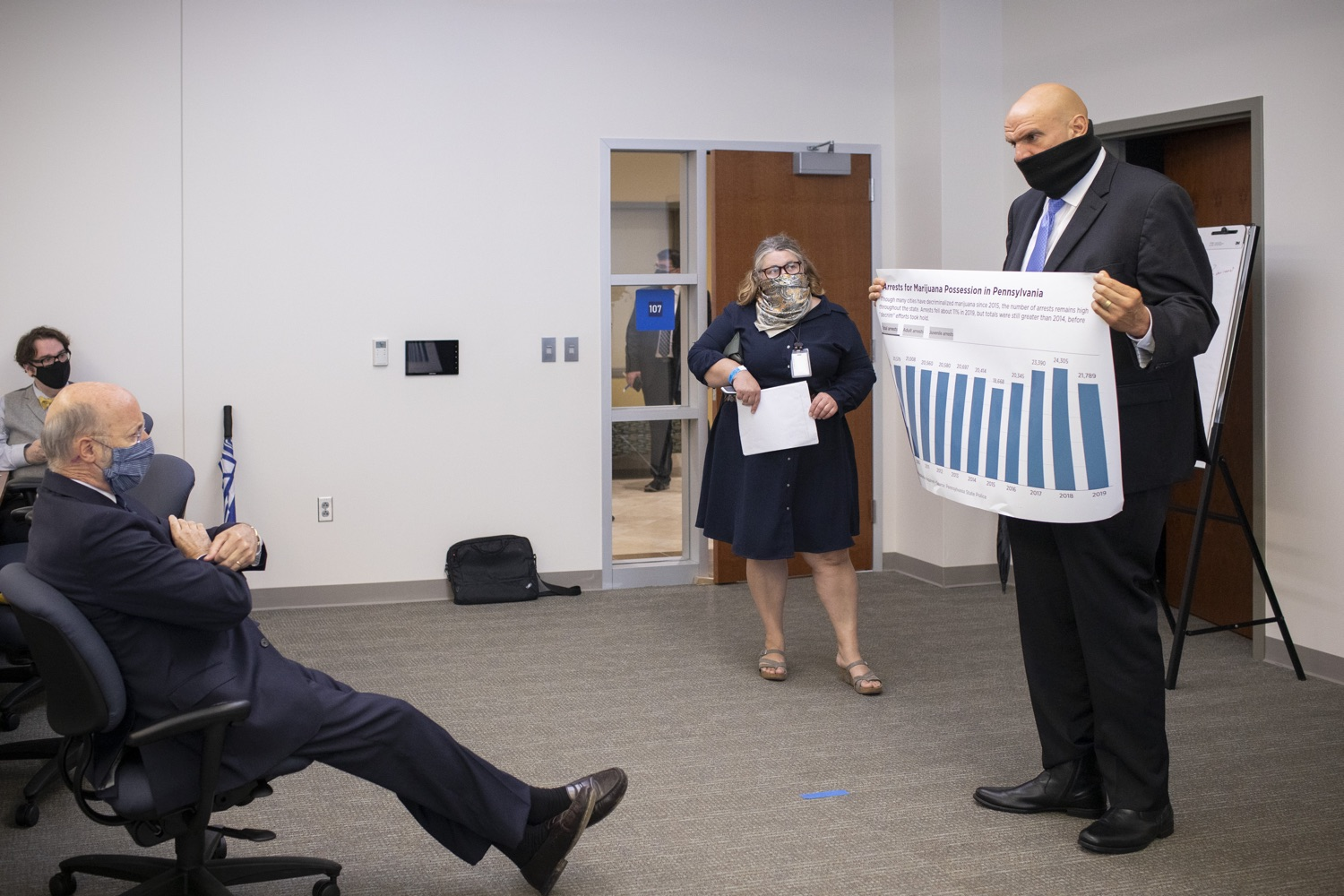 """<a href=""""https://filesource.wostreaming.net/commonwealthofpa/photo/18239_gov_recMarijuana_dz_011.jpg"""" target=""""_blank"""">⇣Download Photo<br></a>Lt. Gov. John Fetterman speaking with Governor Tom Wolf before the event.   Governor Tom Wolf and Lt. Governor John Fetterman today called on the legislature to take up the legalization of adult-use cannabis to help with the states economic recovery amid COVID-19. Legalization will also create more outlets for important restorative justice programs in the commonwealth.  Harrisburg, PA  Sept. 3, 2020"""