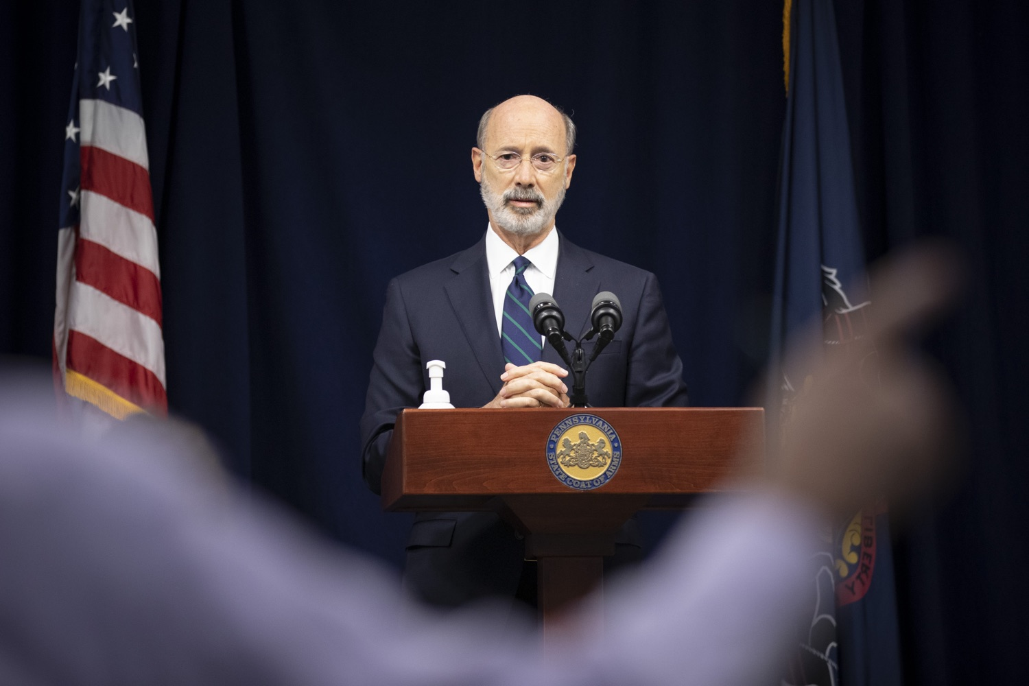 """<a href=""""https://filesource.wostreaming.net/commonwealthofpa/photo/18239_gov_recMarijuana_dz_012.jpg"""" target=""""_blank"""">⇣Download Photo<br></a>Pennsylvania Governor Tom Wolf speaking with the press. Governor Tom Wolf and Lt. Governor John Fetterman today called on the legislature to take up the legalization of adult-use cannabis to help with the states economic recovery amid COVID-19. Legalization will also create more outlets for important restorative justice programs in the commonwealth.  Harrisburg, PA  Sept. 3, 2020"""