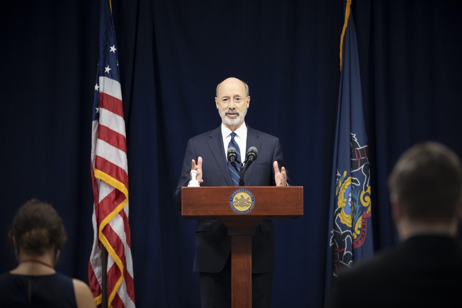 """<a href=""""https://filesource.wostreaming.net/commonwealthofpa/photo/18239_gov_recMarijuana_dz_013.jpg"""" target=""""_blank"""">⇣Download Photo<br></a>Pennsylvania Governor Tom Wolf speaking with the press. Governor Tom Wolf and Lt. Governor John Fetterman today called on the legislature to take up the legalization of adult-use cannabis to help with the states economic recovery amid COVID-19. Legalization will also create more outlets for important restorative justice programs in the commonwealth.  Harrisburg, PA  Sept. 3, 2020"""