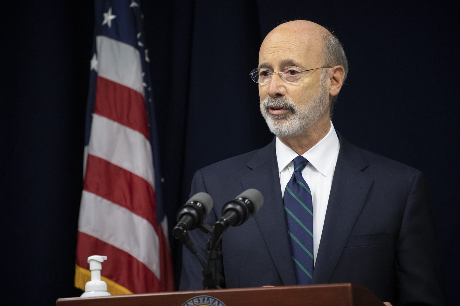 """<a href=""""https://filesource.wostreaming.net/commonwealthofpa/photo/18239_gov_recMarijuana_dz_014.jpg"""" target=""""_blank"""">⇣Download Photo<br></a>Pennsylvania Governor Tom Wolf speaking with the press. Governor Tom Wolf and Lt. Governor John Fetterman today called on the legislature to take up the legalization of adult-use cannabis to help with the states economic recovery amid COVID-19. Legalization will also create more outlets for important restorative justice programs in the commonwealth.  Harrisburg, PA  Sept. 3, 2020"""