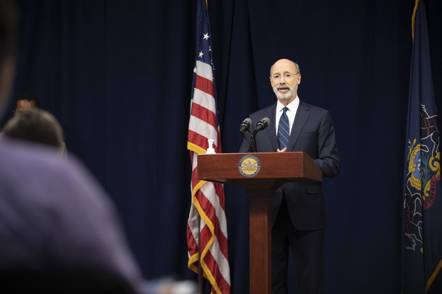 """<a href=""""https://filesource.wostreaming.net/commonwealthofpa/photo/18239_gov_recMarijuana_dz_017.jpg"""" target=""""_blank"""">⇣Download Photo<br></a>Pennsylvania Governor Tom Wolf speaking with the press. Governor Tom Wolf and Lt. Governor John Fetterman today called on the legislature to take up the legalization of adult-use cannabis to help with the states economic recovery amid COVID-19. Legalization will also create more outlets for important restorative justice programs in the commonwealth.  Harrisburg, PA  Sept. 3, 2020"""