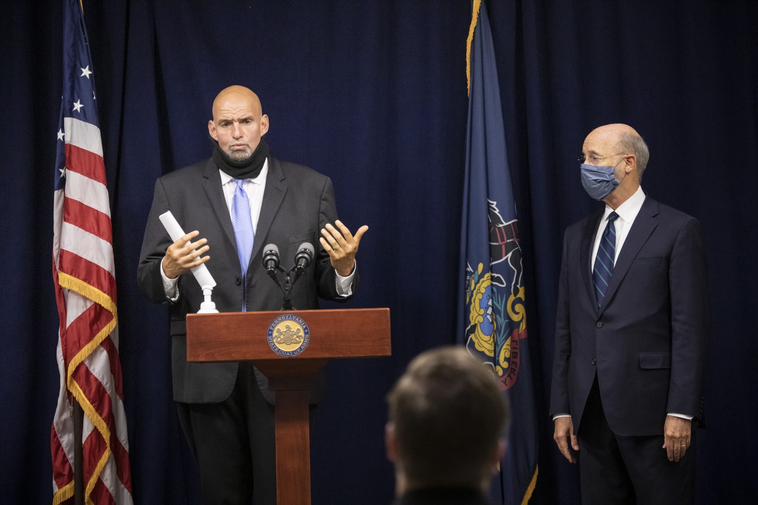 """<a href=""""https://filesource.wostreaming.net/commonwealthofpa/photo/18239_gov_recMarijuana_dz_021.jpg"""" target=""""_blank"""">⇣Download Photo<br></a>Lt. Gov. John Fetterman speaking with the press. Governor Tom Wolf and Lt. Governor John Fetterman today called on the legislature to take up the legalization of adult-use cannabis to help with the states economic recovery amid COVID-19. Legalization will also create more outlets for important restorative justice programs in the commonwealth.  Harrisburg, PA  Sept. 3, 2020"""