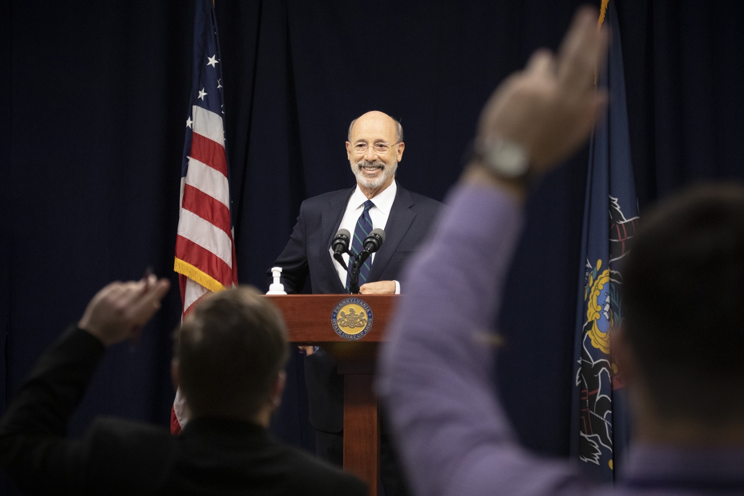 """<a href=""""https://filesource.wostreaming.net/commonwealthofpa/photo/18239_gov_recMarijuana_dz_022.jpg"""" target=""""_blank"""">⇣Download Photo<br></a>Pennsylvania Governor Tom Wolf speaking with the press. Governor Tom Wolf and Lt. Governor John Fetterman today called on the legislature to take up the legalization of adult-use cannabis to help with the states economic recovery amid COVID-19. Legalization will also create more outlets for important restorative justice programs in the commonwealth.  Harrisburg, PA  Sept. 3, 2020"""