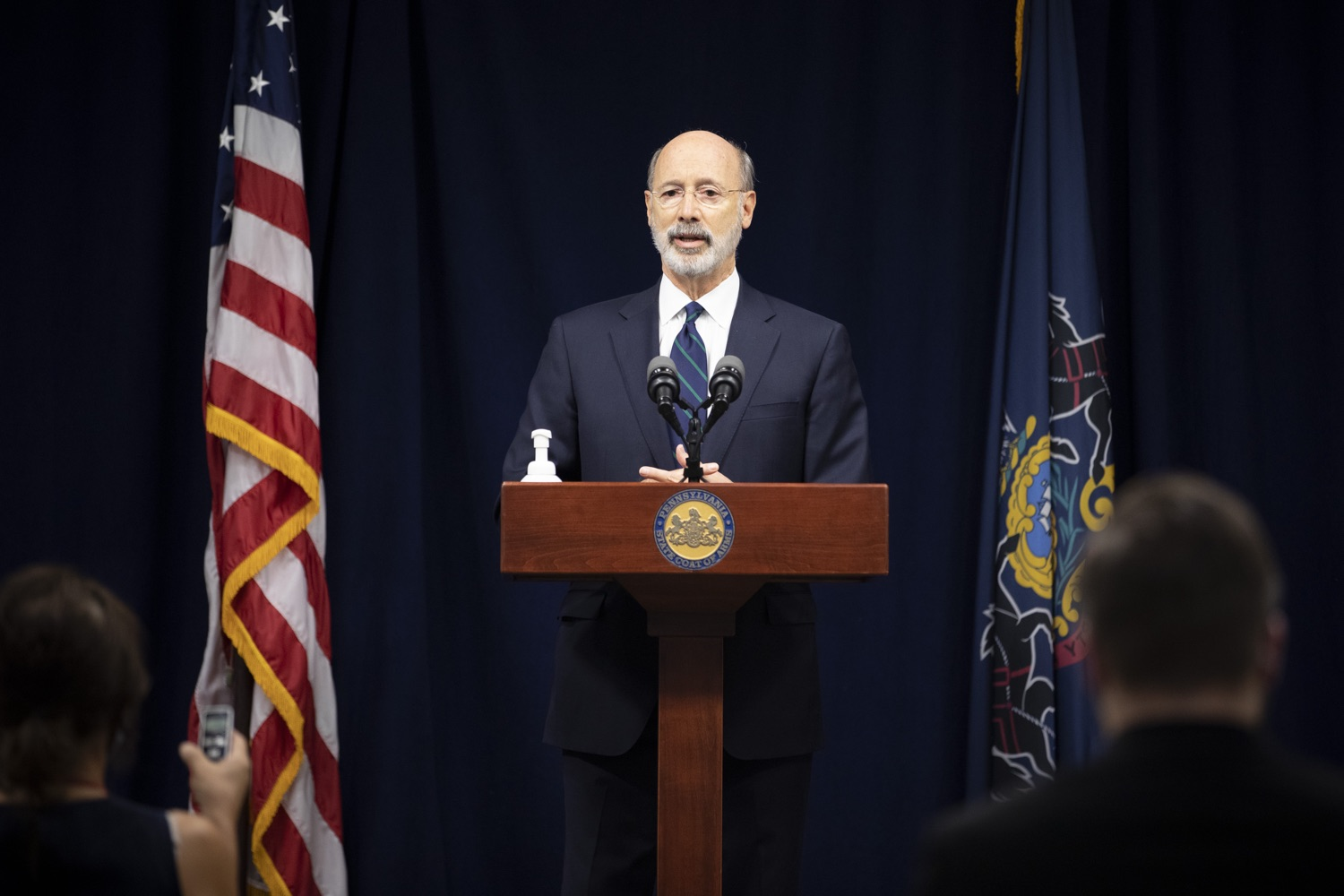 """<a href=""""https://filesource.wostreaming.net/commonwealthofpa/photo/18239_gov_recMarijuana_dz_023.jpg"""" target=""""_blank"""">⇣Download Photo<br></a>Pennsylvania Governor Tom Wolf speaking with the press. Governor Tom Wolf and Lt. Governor John Fetterman today called on the legislature to take up the legalization of adult-use cannabis to help with the states economic recovery amid COVID-19. Legalization will also create more outlets for important restorative justice programs in the commonwealth.  Harrisburg, PA  Sept. 3, 2020"""